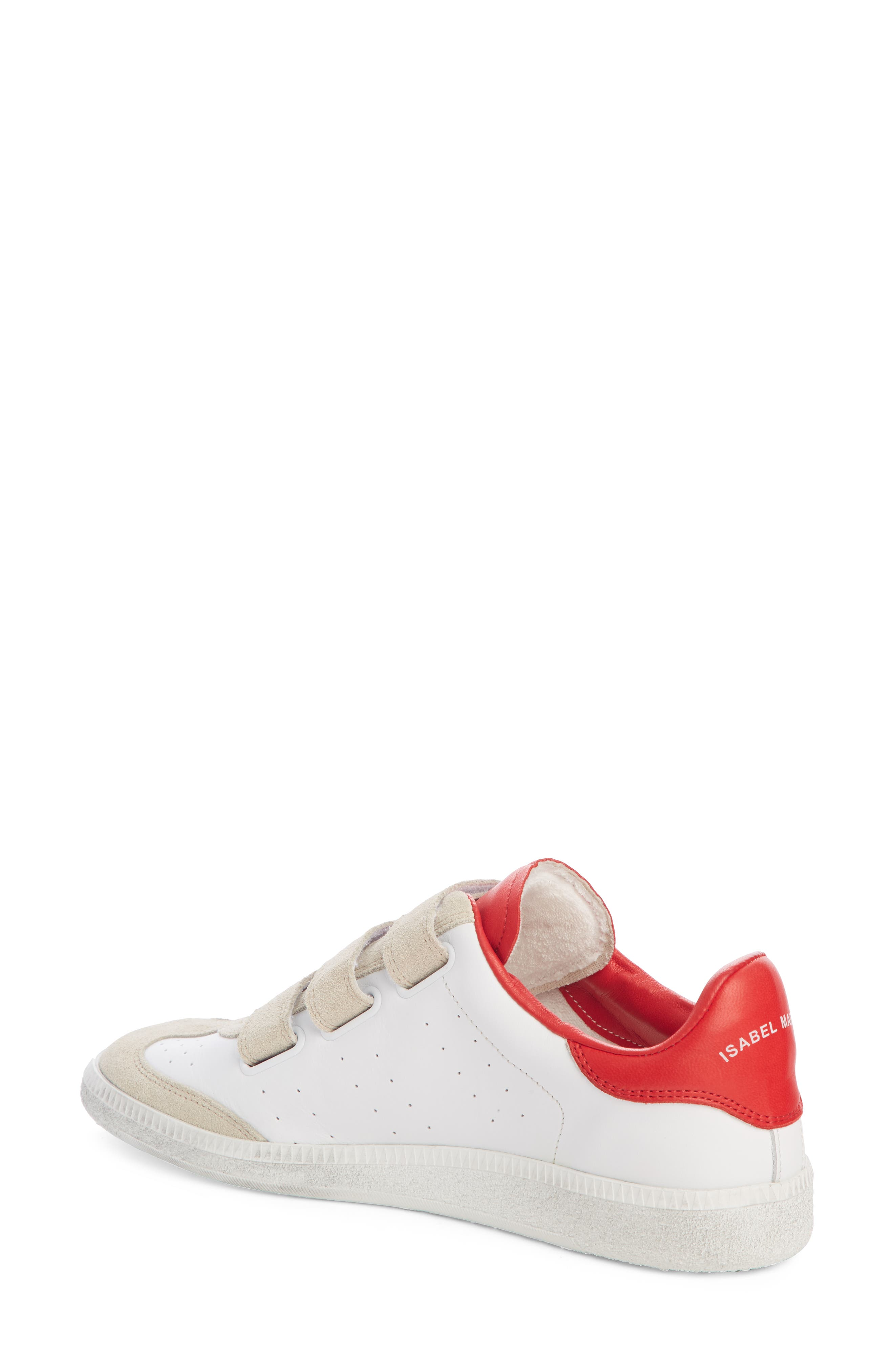 ISABEL MARANT,                             Beth Low Top Sneaker,                             Alternate thumbnail 2, color,                             WHITE / RED