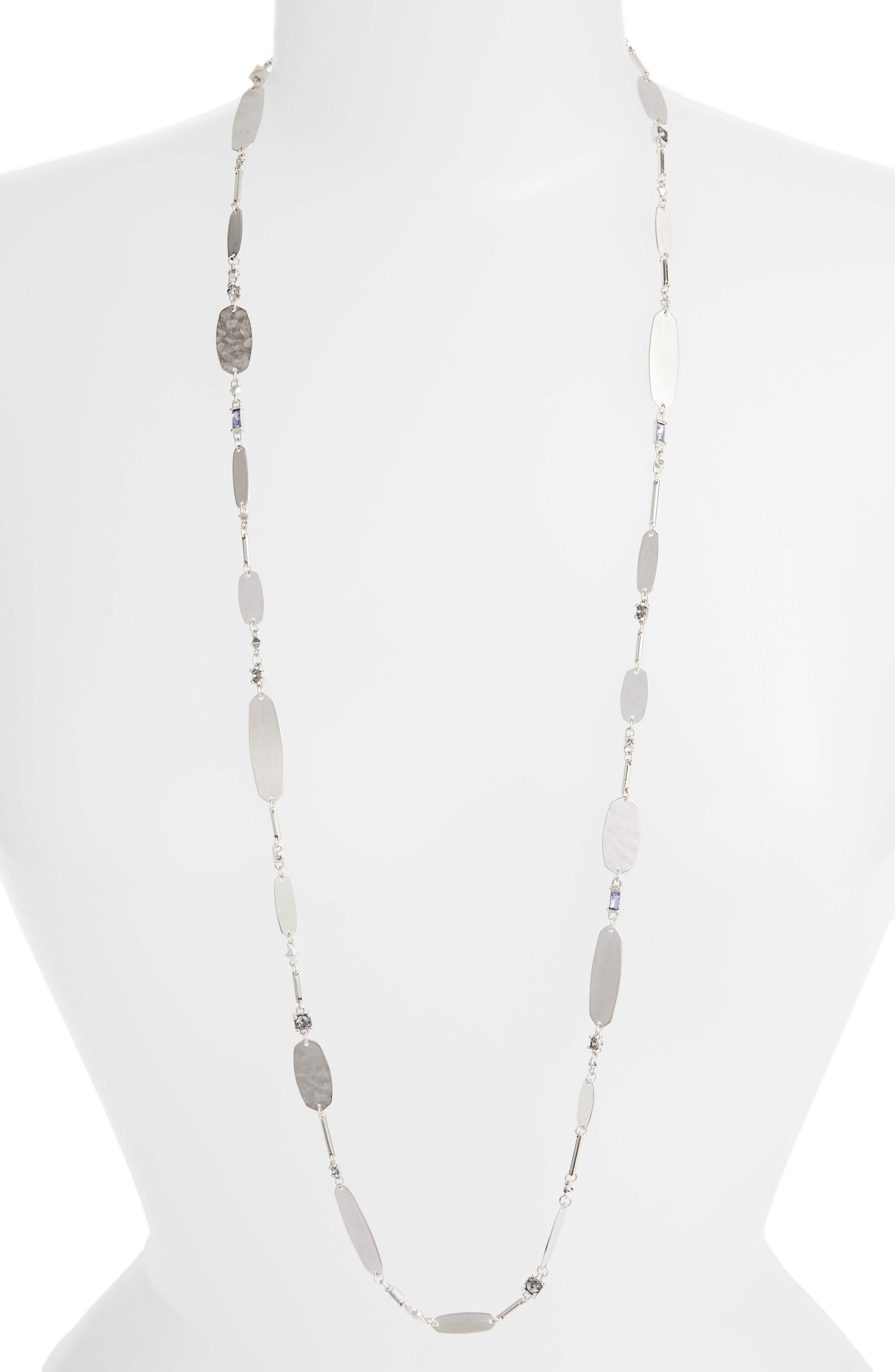KENDRA SCOTT Claret Station Necklace, 37.5 in Lilac Mix/ Silver