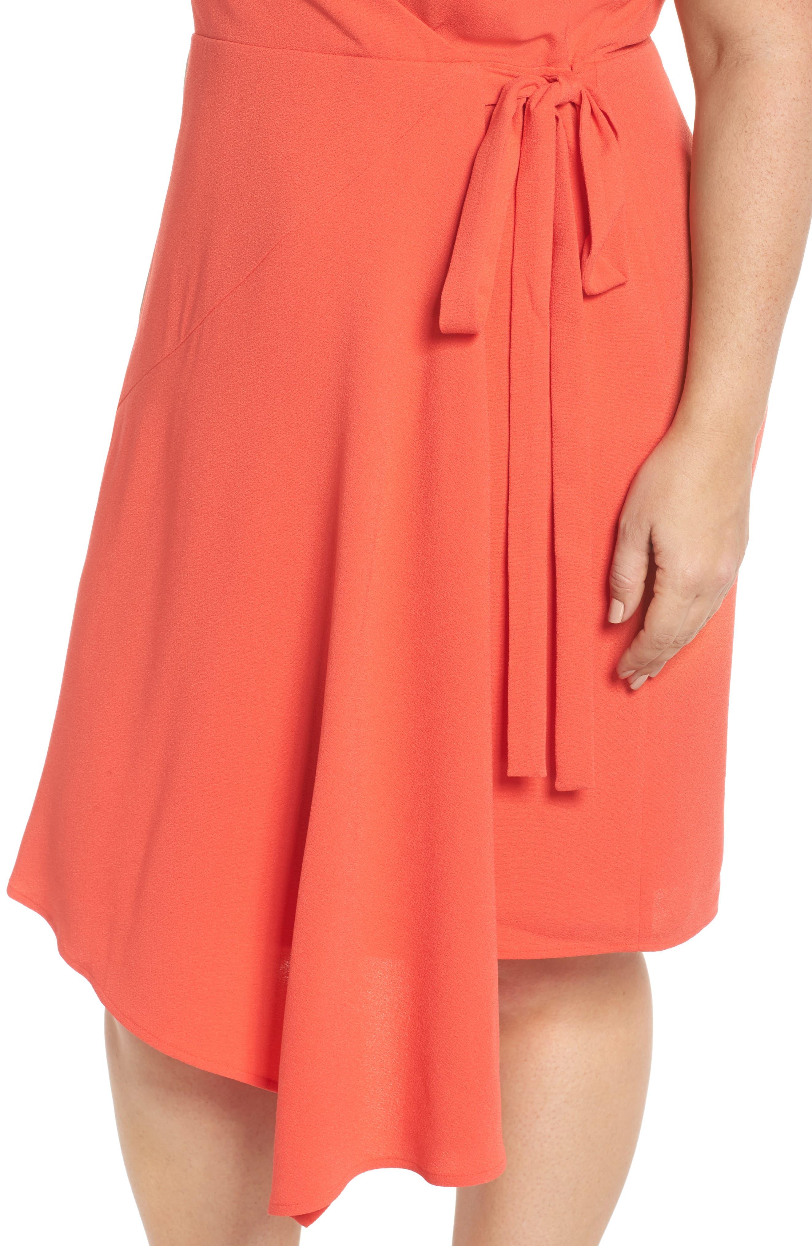 Crepe Surplice Dress,                             Alternate thumbnail 4, color,                             CORAL
