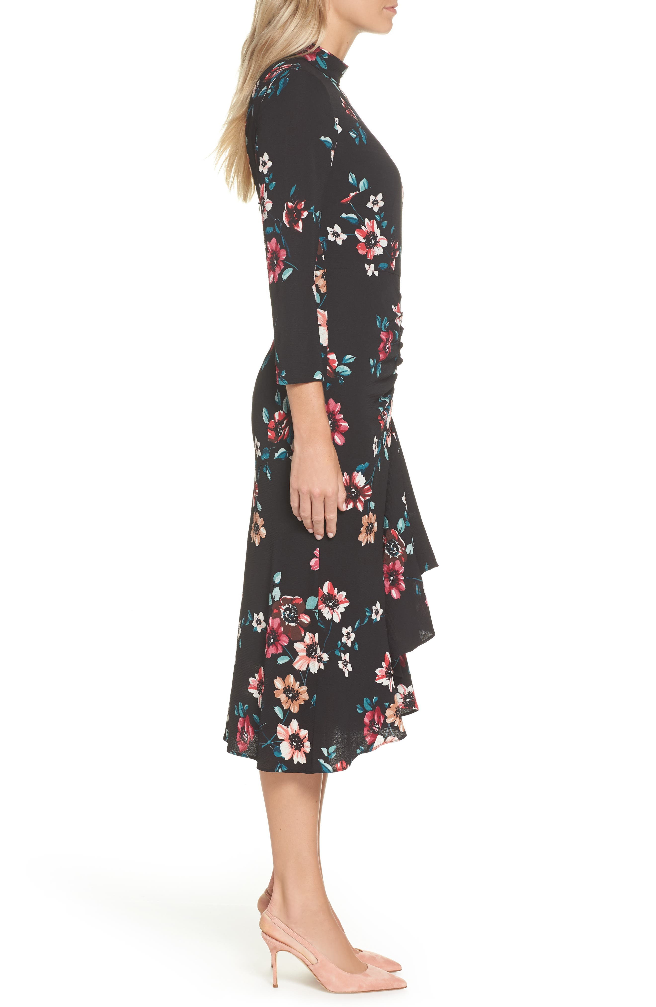 Floral Ruffle Midi Dress,                             Alternate thumbnail 3, color,                             001
