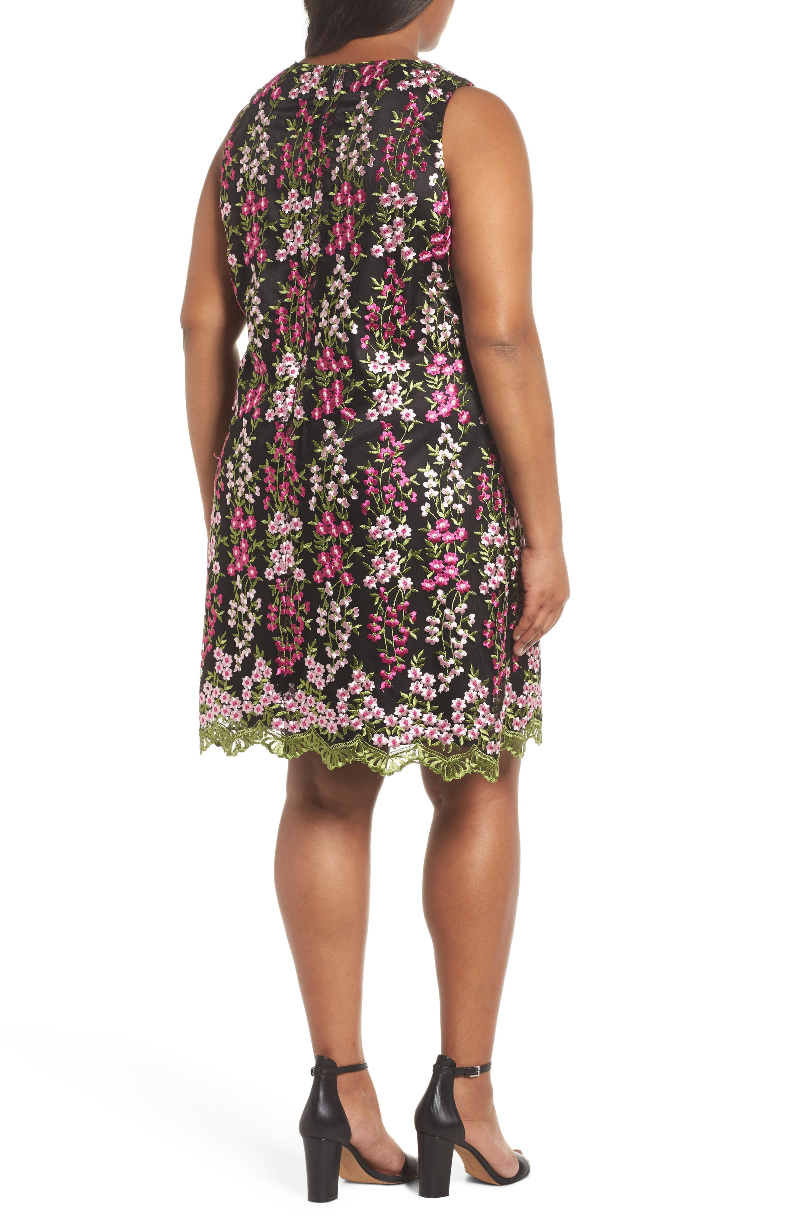 Embroidered Floral Shift Dress,                             Alternate thumbnail 2, color,                             001
