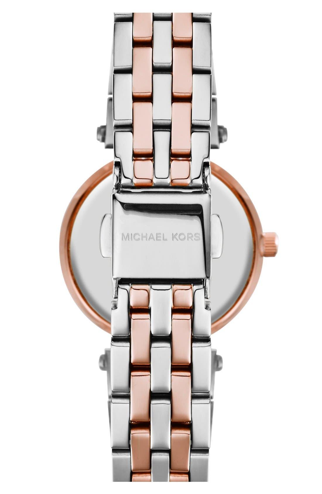 'Petite Darci' Crystal Bezel Bracelet Watch, 26mm,                             Alternate thumbnail 2, color,                             SILVER/ ROSE GOLD