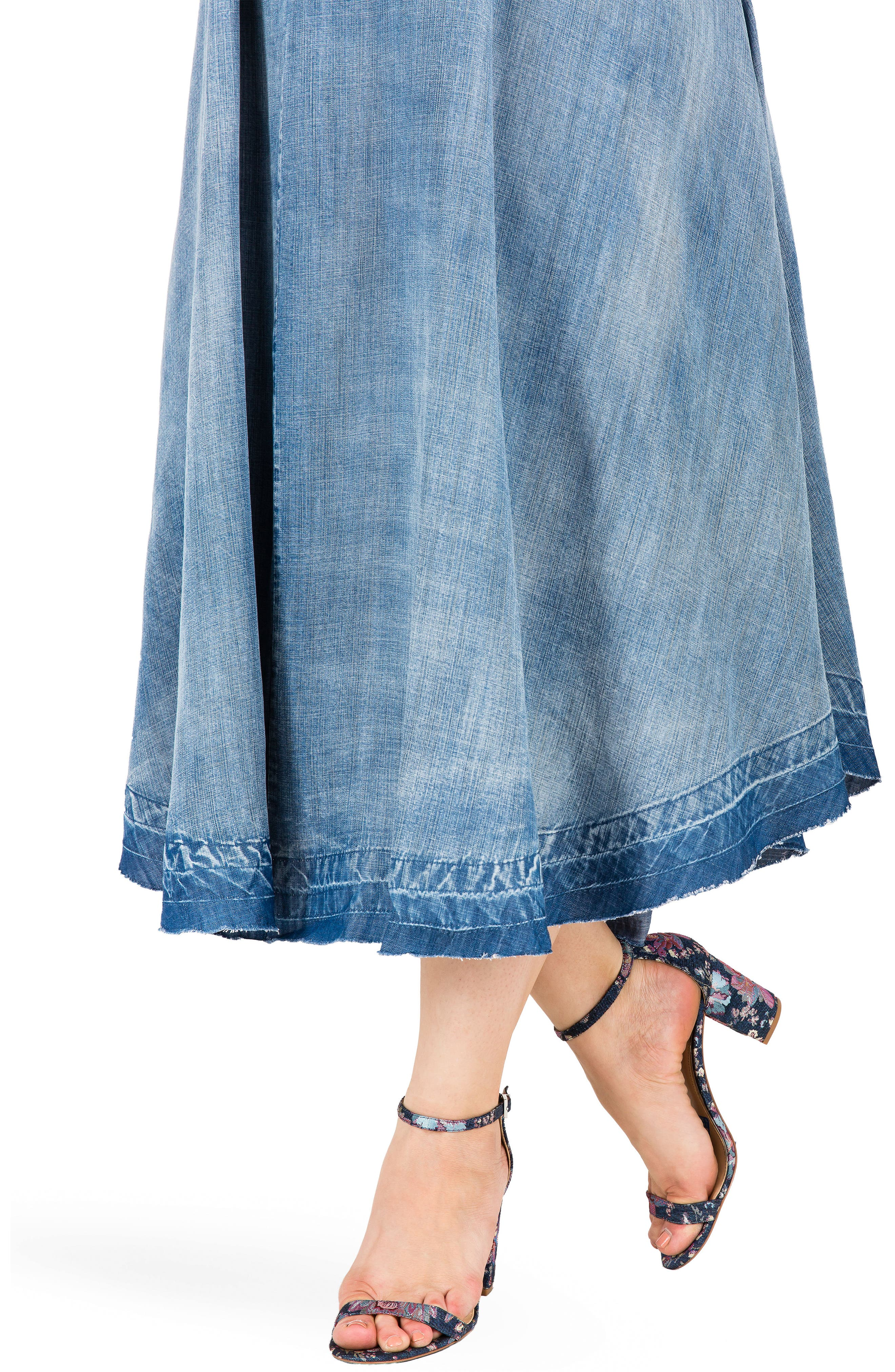 Taylor Tank Denim Midi Dress,                             Alternate thumbnail 3, color,                             MEDIUM BLUE