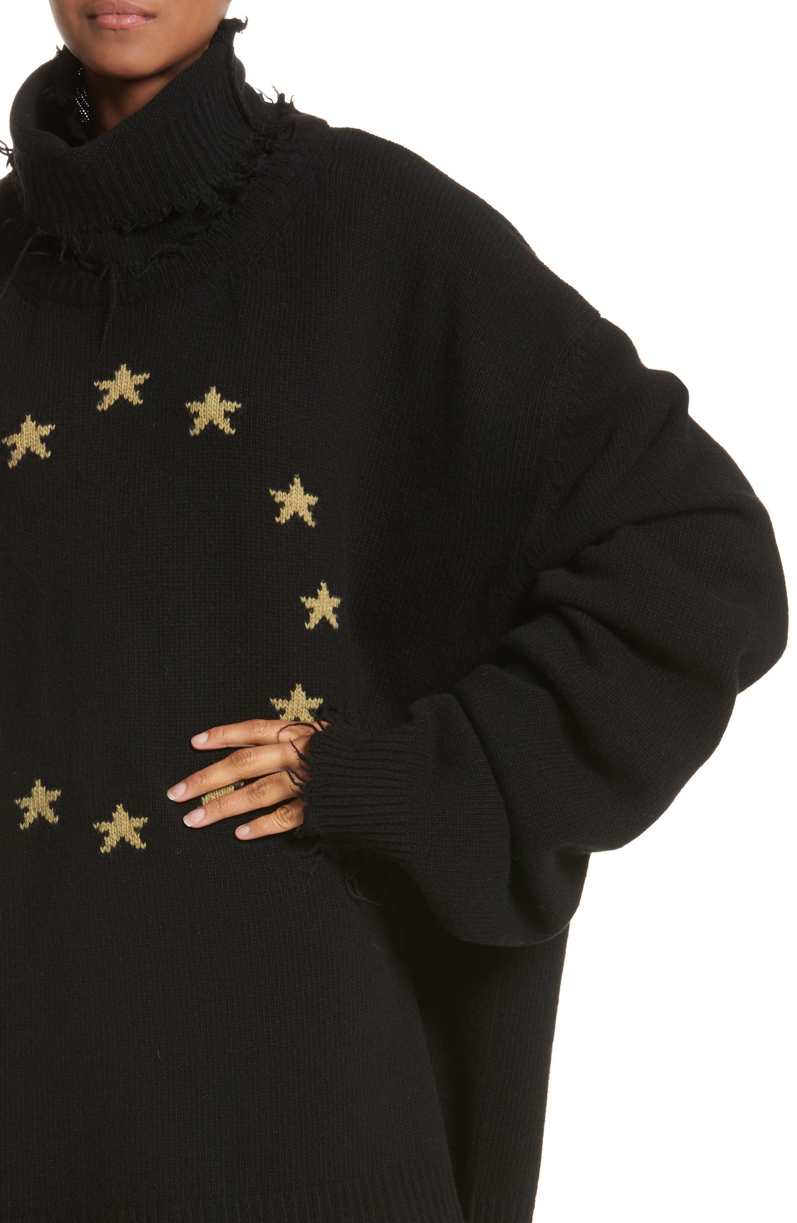 Star Turtleneck Sweater,                             Alternate thumbnail 4, color,                             001