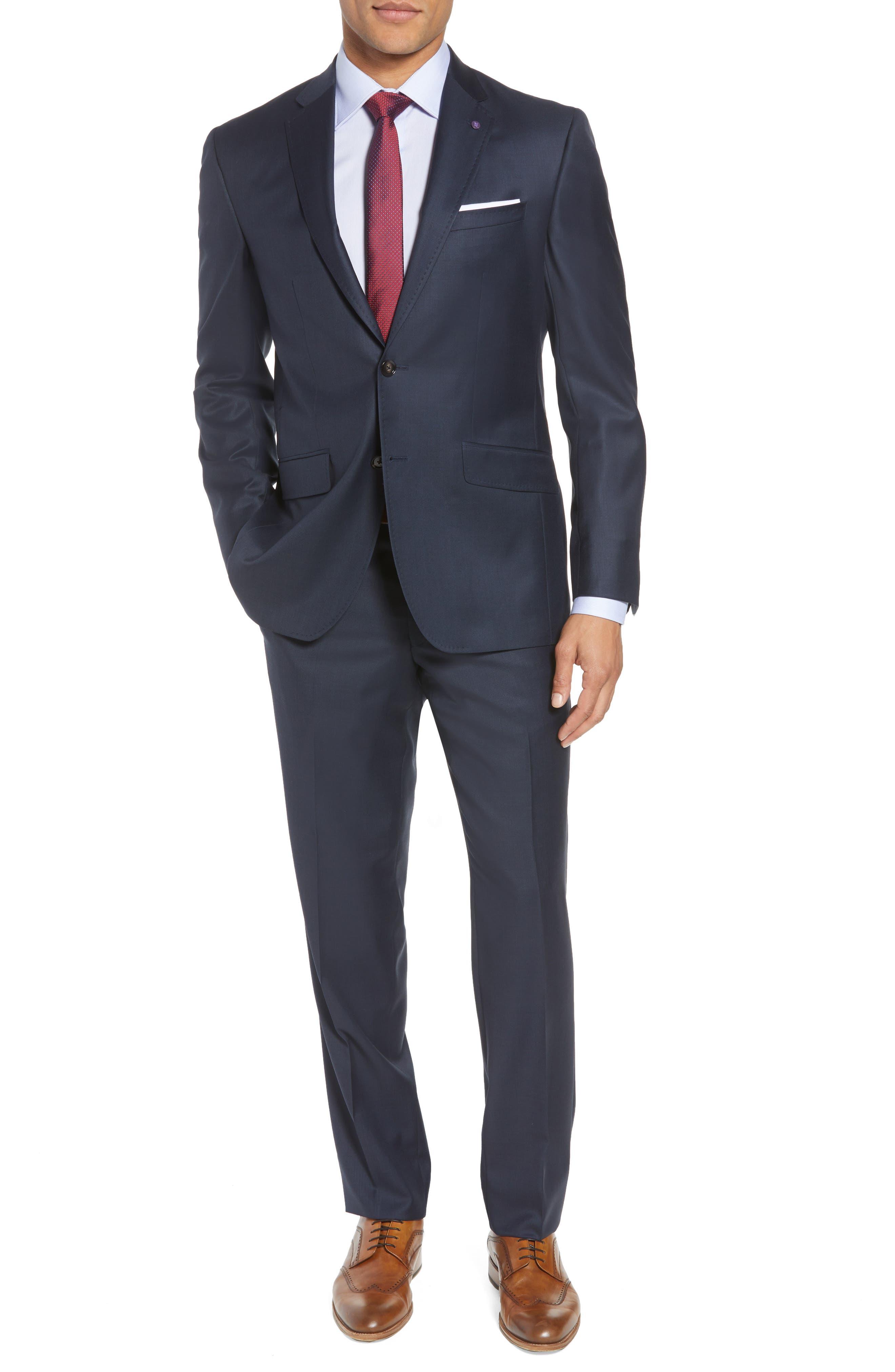 Jones Trim Fit Solid Wool Suit,                         Main,                         color, BLUE