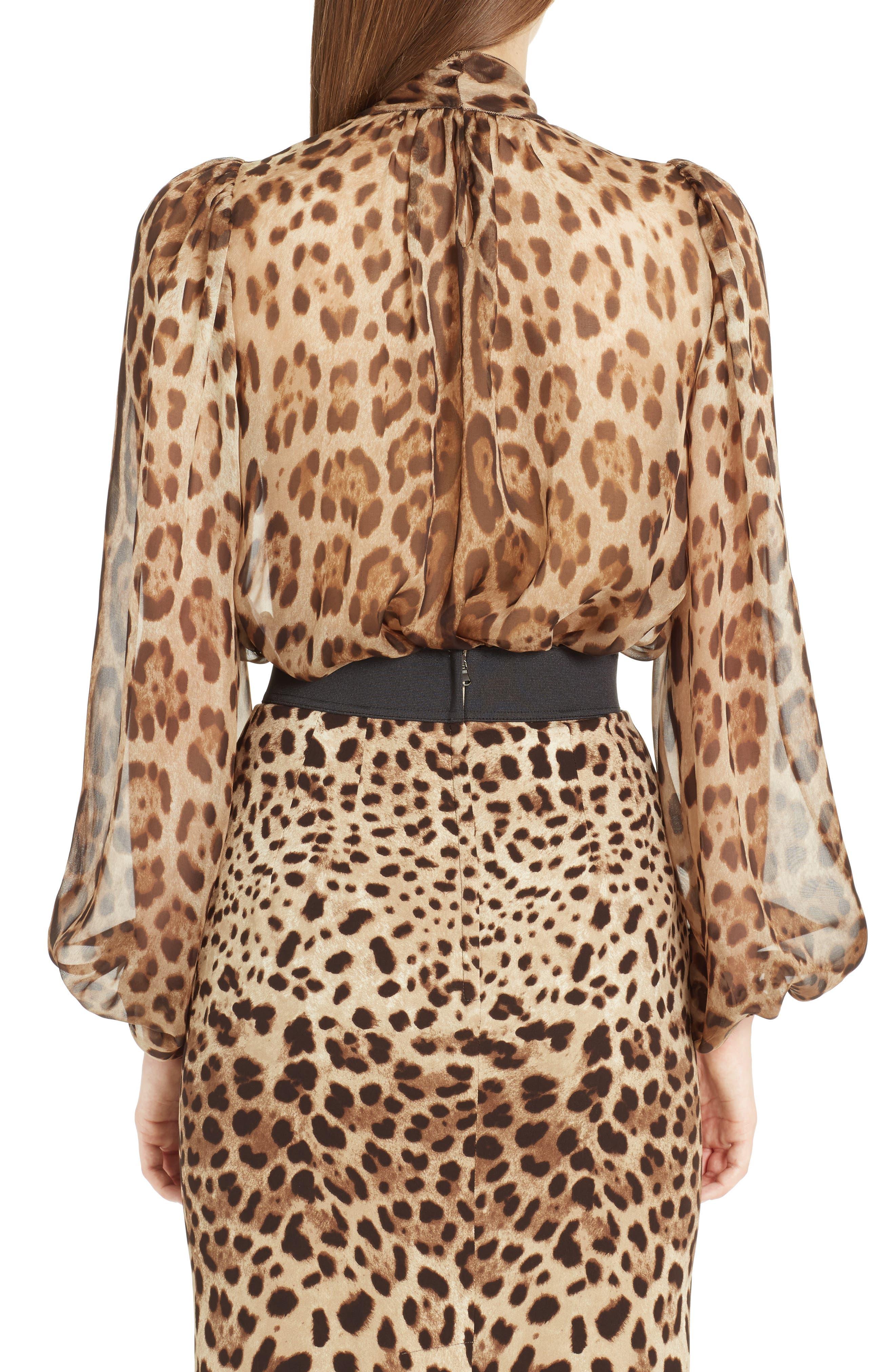 Leopard Print Silk Tie Neck Blouse,                             Alternate thumbnail 2, color,