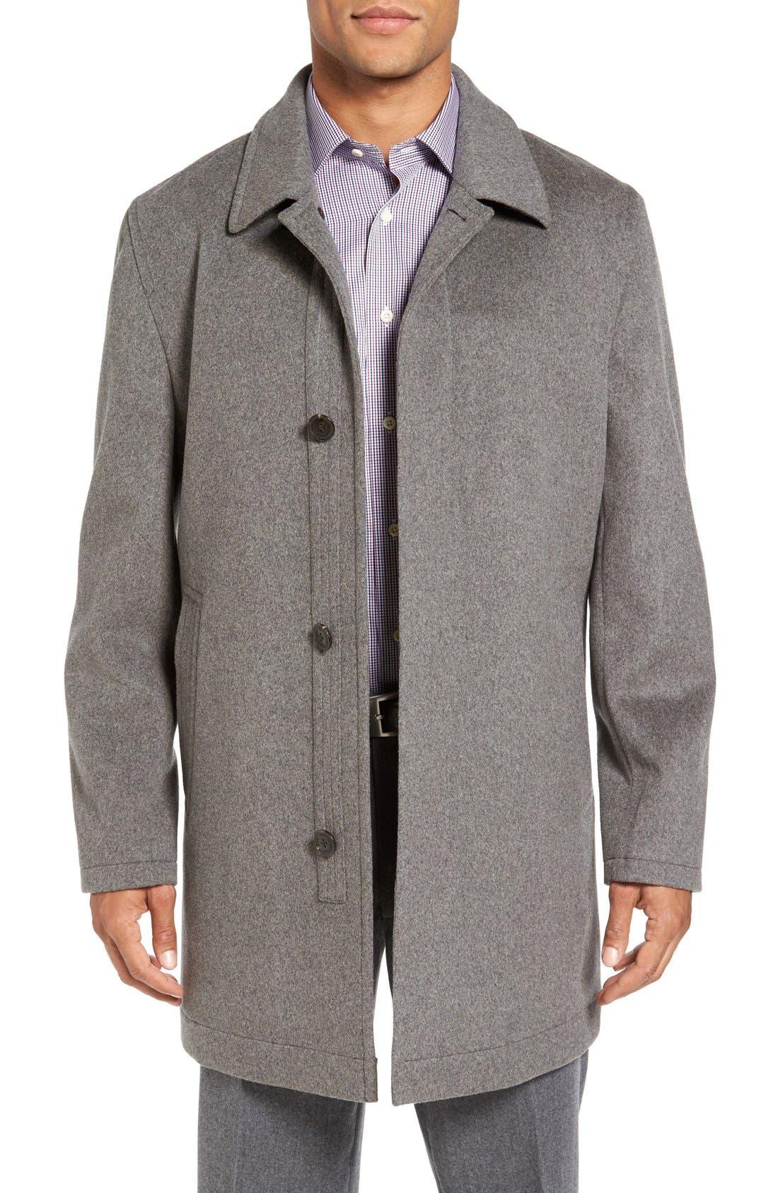 Douglas Modern Fit Wool & Cashmere Overcoat,                         Main,                         color, SMOKE