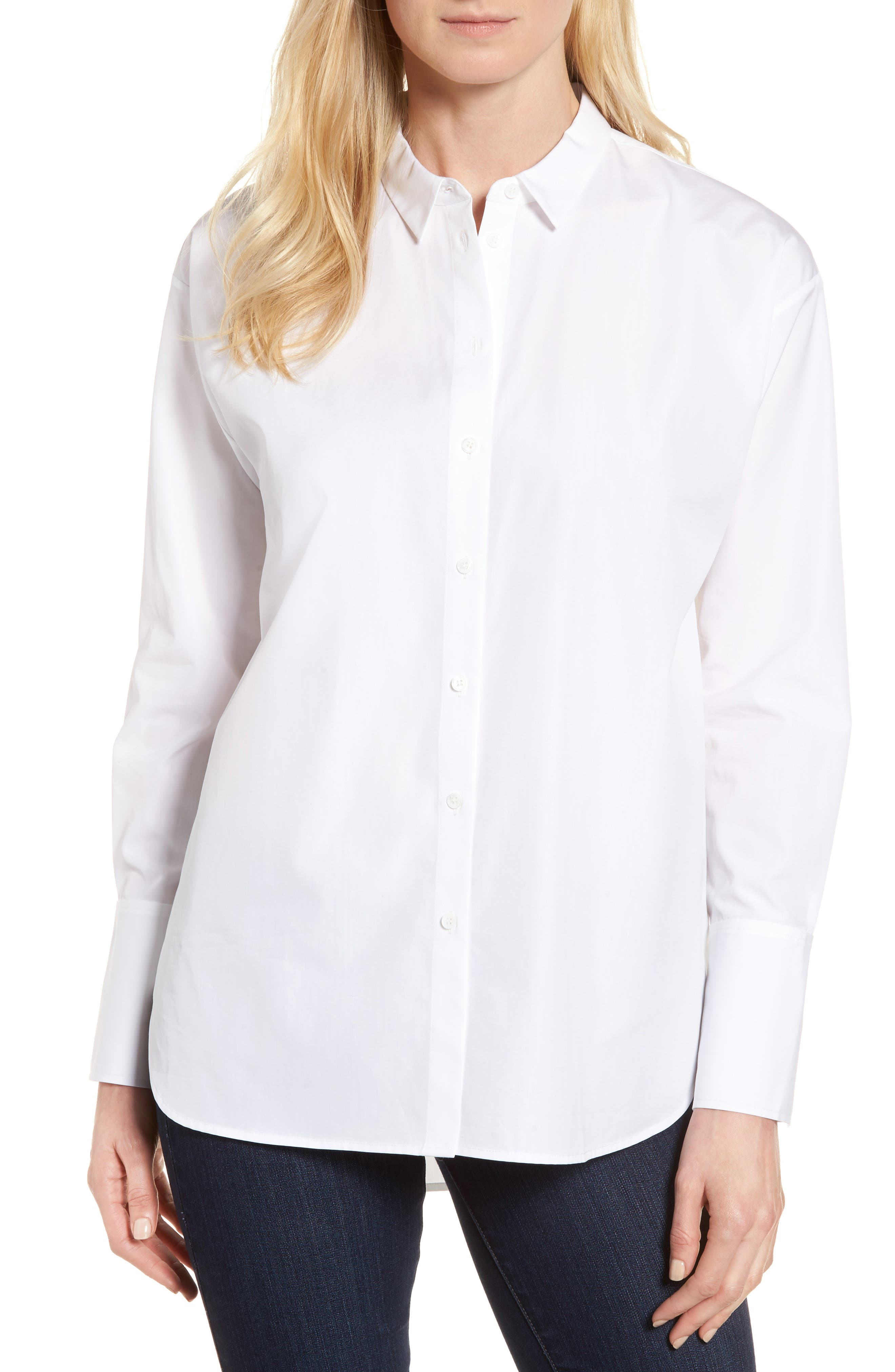 Poplin Shirt,                         Main,                         color, WHITE