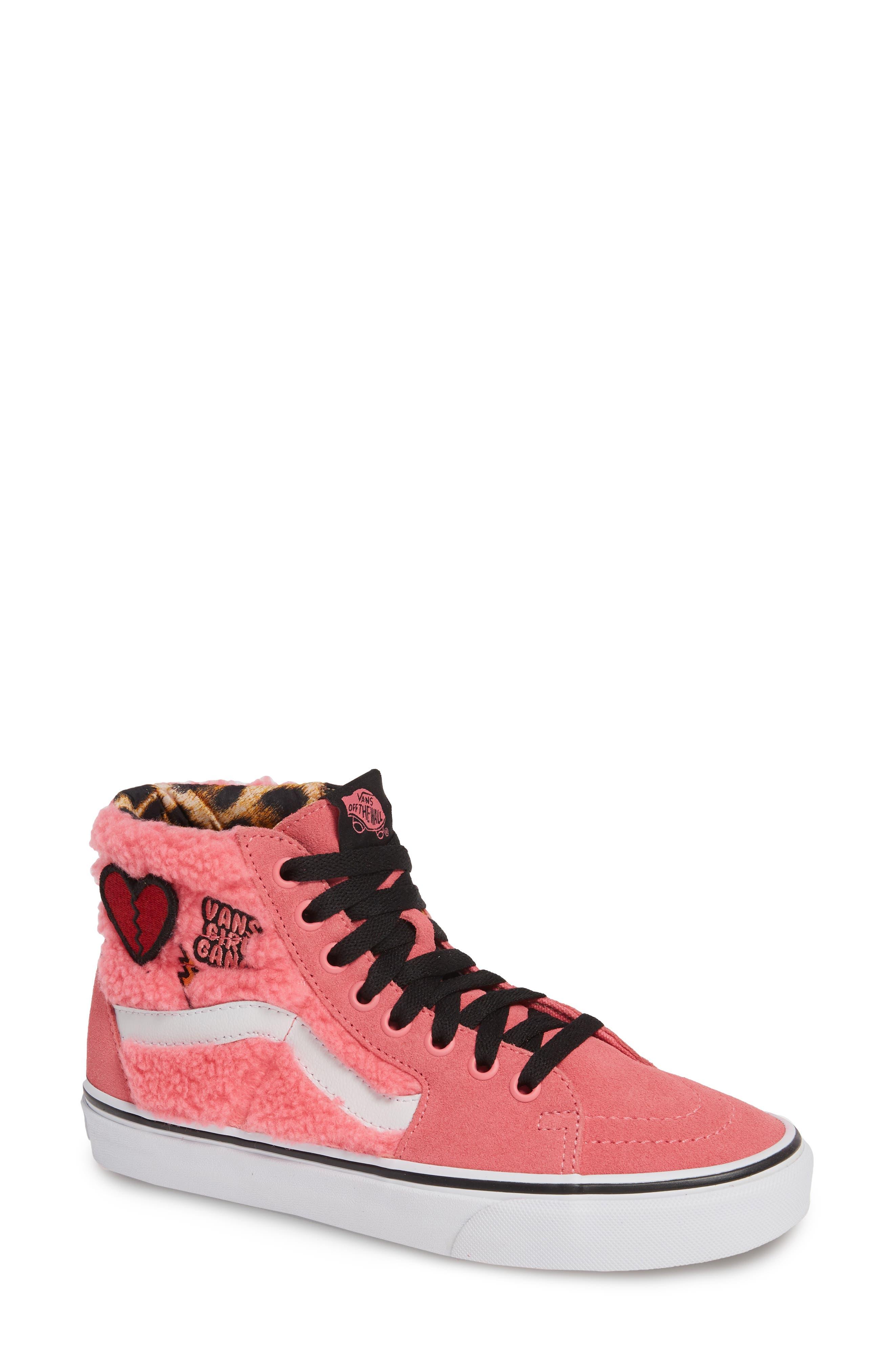 Sk8-Hi Faux Shearling High Top Sneaker, Main, color, PINK LEMONADE