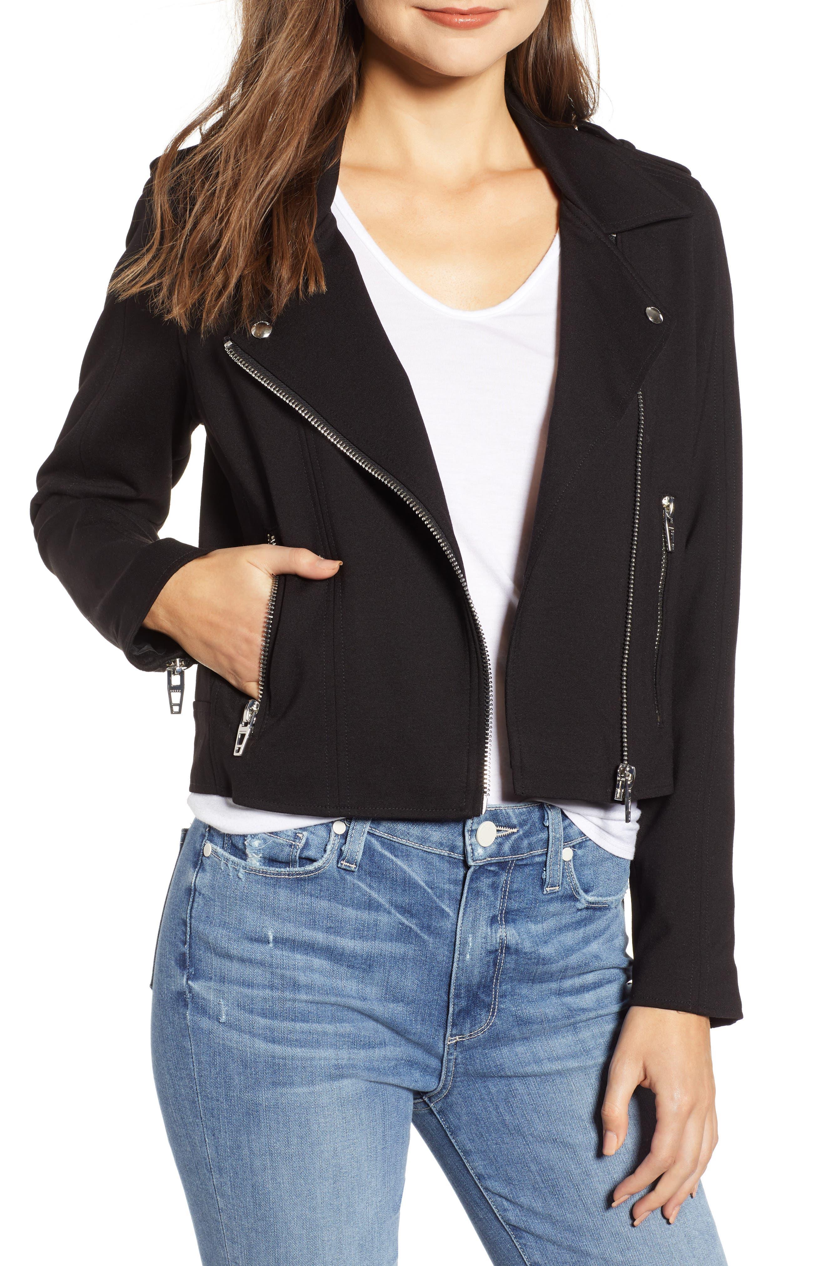 Knit Moto Jacket,                             Main thumbnail 1, color,                             CAVIAR
