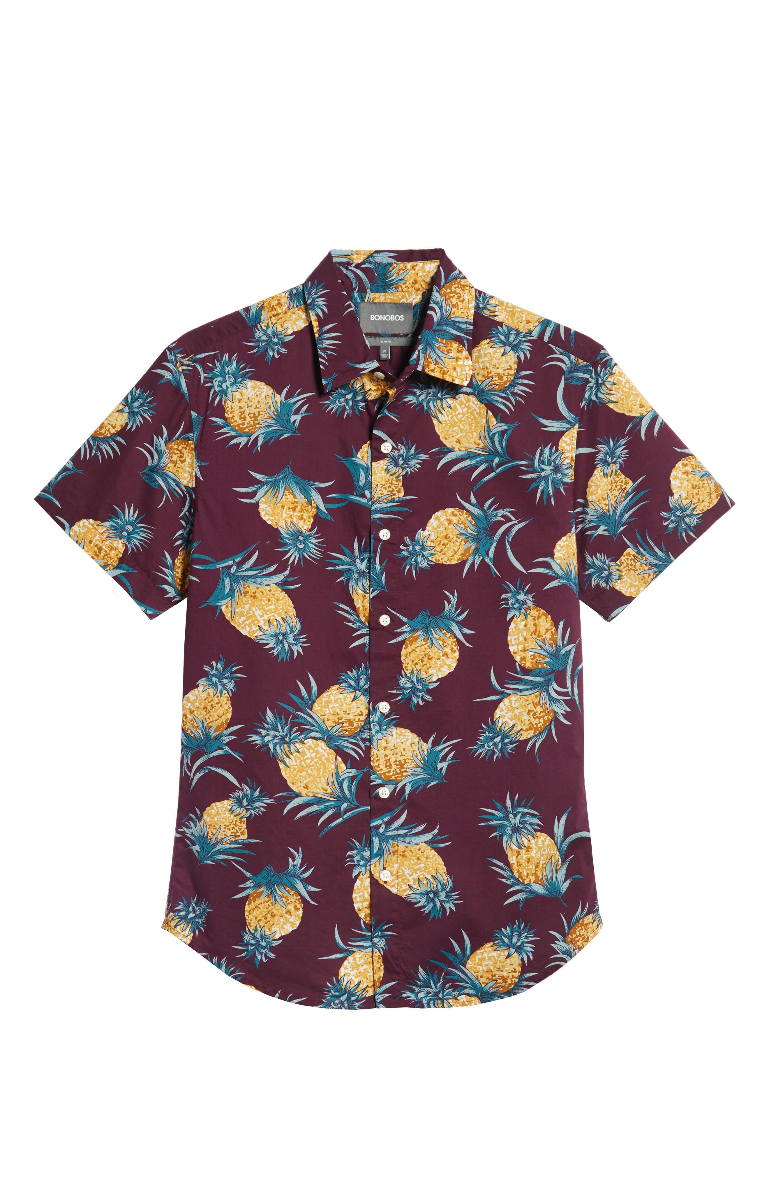 Riviera Slim Fit Pineapple Print Sport Shirt,                             Alternate thumbnail 5, color,                             500