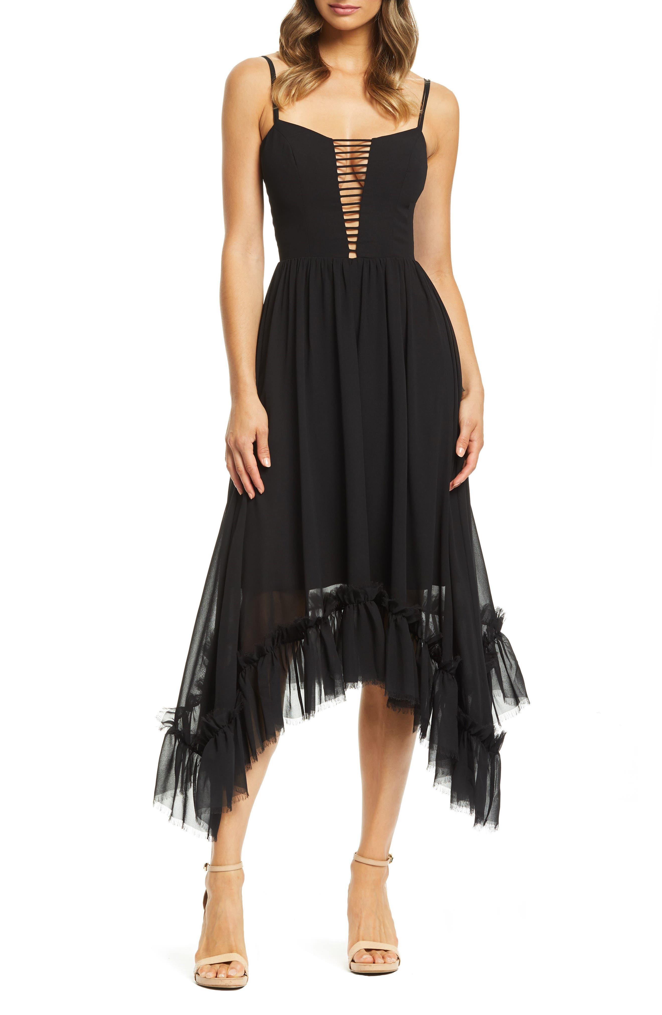 Dress The Population Kalya Chiffon Dress, Black