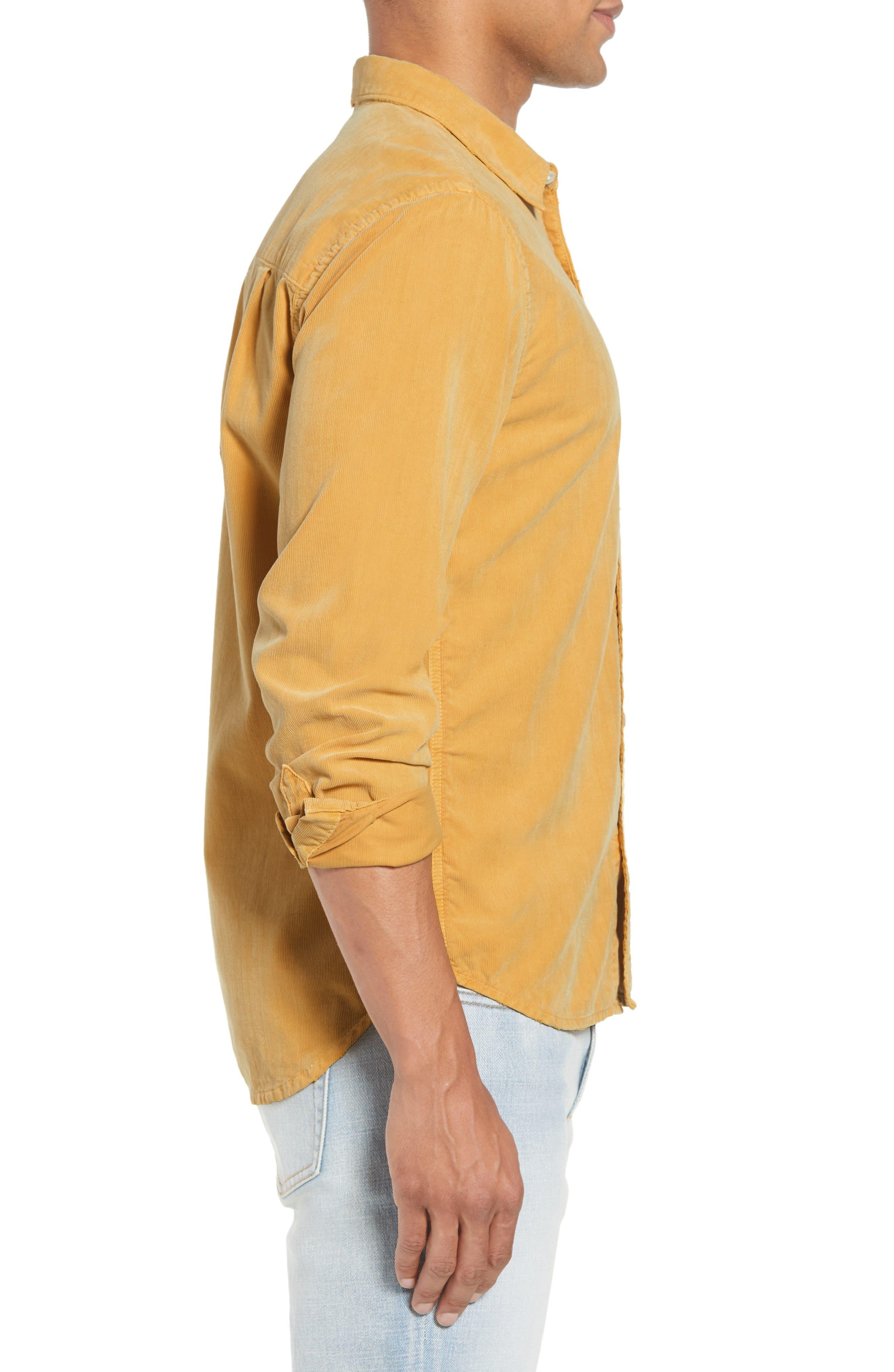 Slim Fit Corduroy Shirt,                             Alternate thumbnail 4, color,                             FADED GOLDEN GLOW