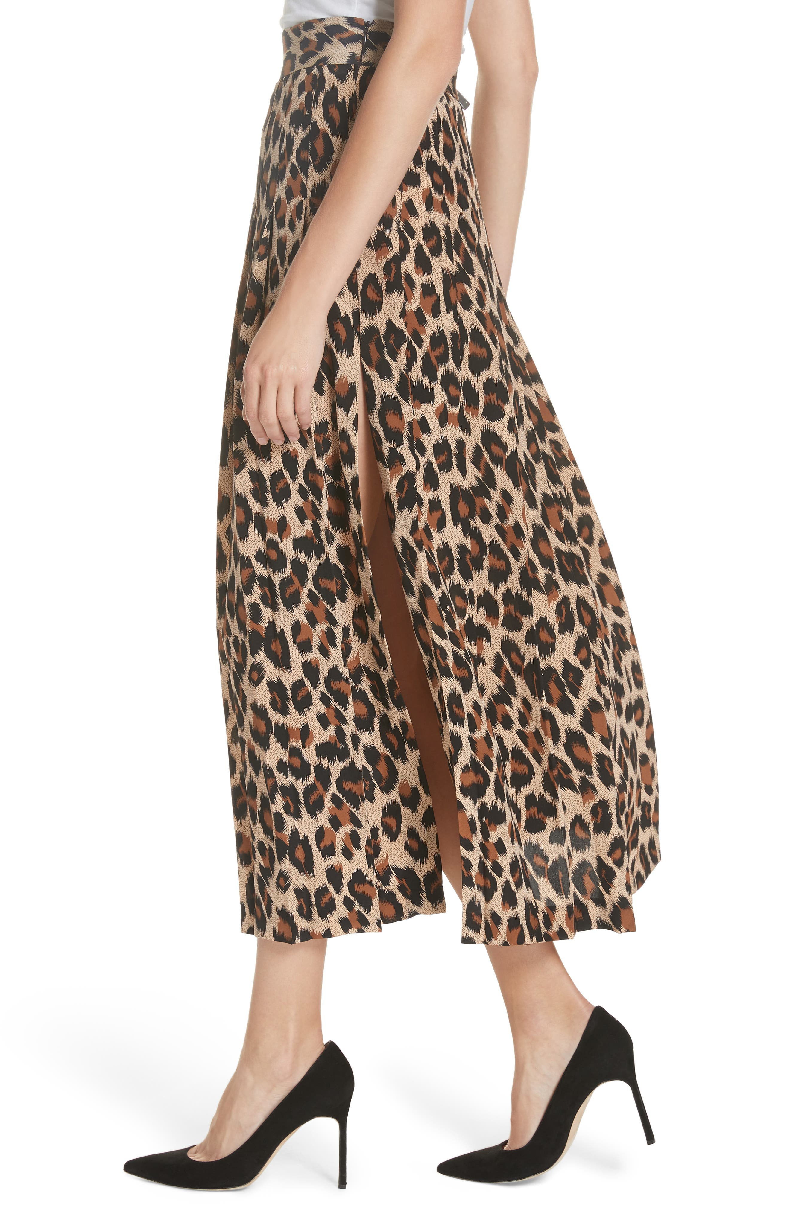 Leopard Print Pleated Silk Skirt,                             Alternate thumbnail 4, color,                             LEOPARD