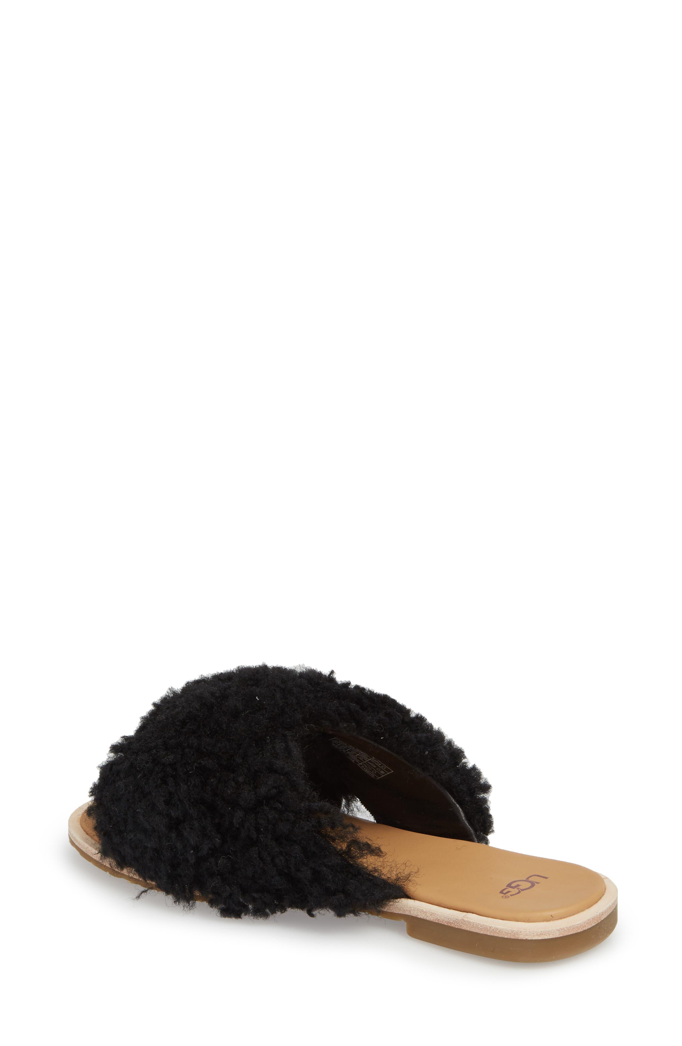 Joni Genuine Shearling Slide Sandal,                             Alternate thumbnail 2, color,                             BLACK