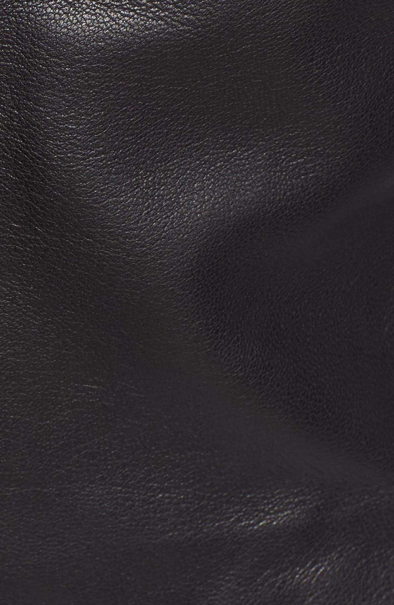 Flutter Sleeve Leather Bustier,                             Alternate thumbnail 6, color,                             BLACK