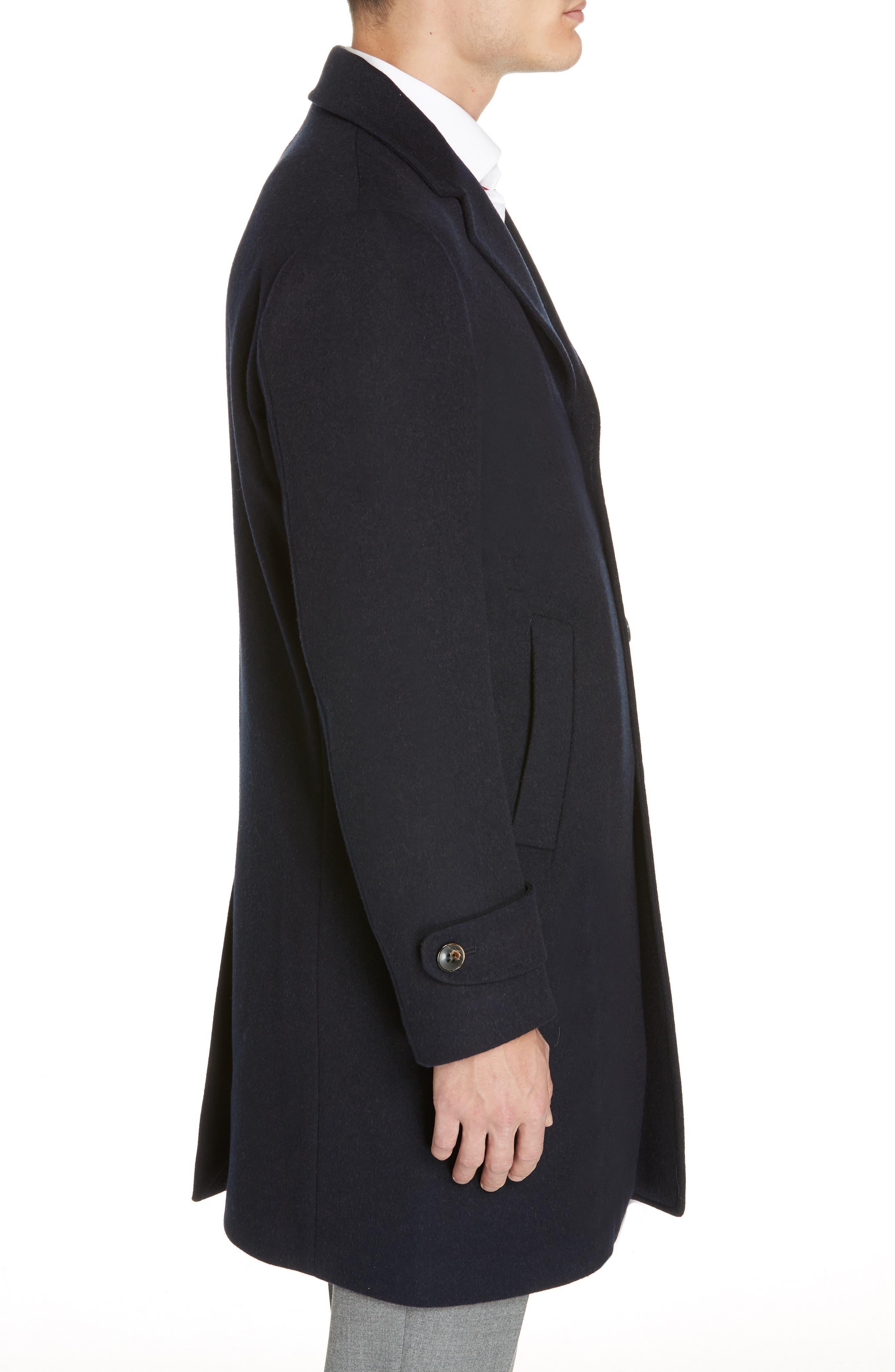 Trim Fit Wool & Cashmere Car Coat,                             Alternate thumbnail 3, color,                             NAVY