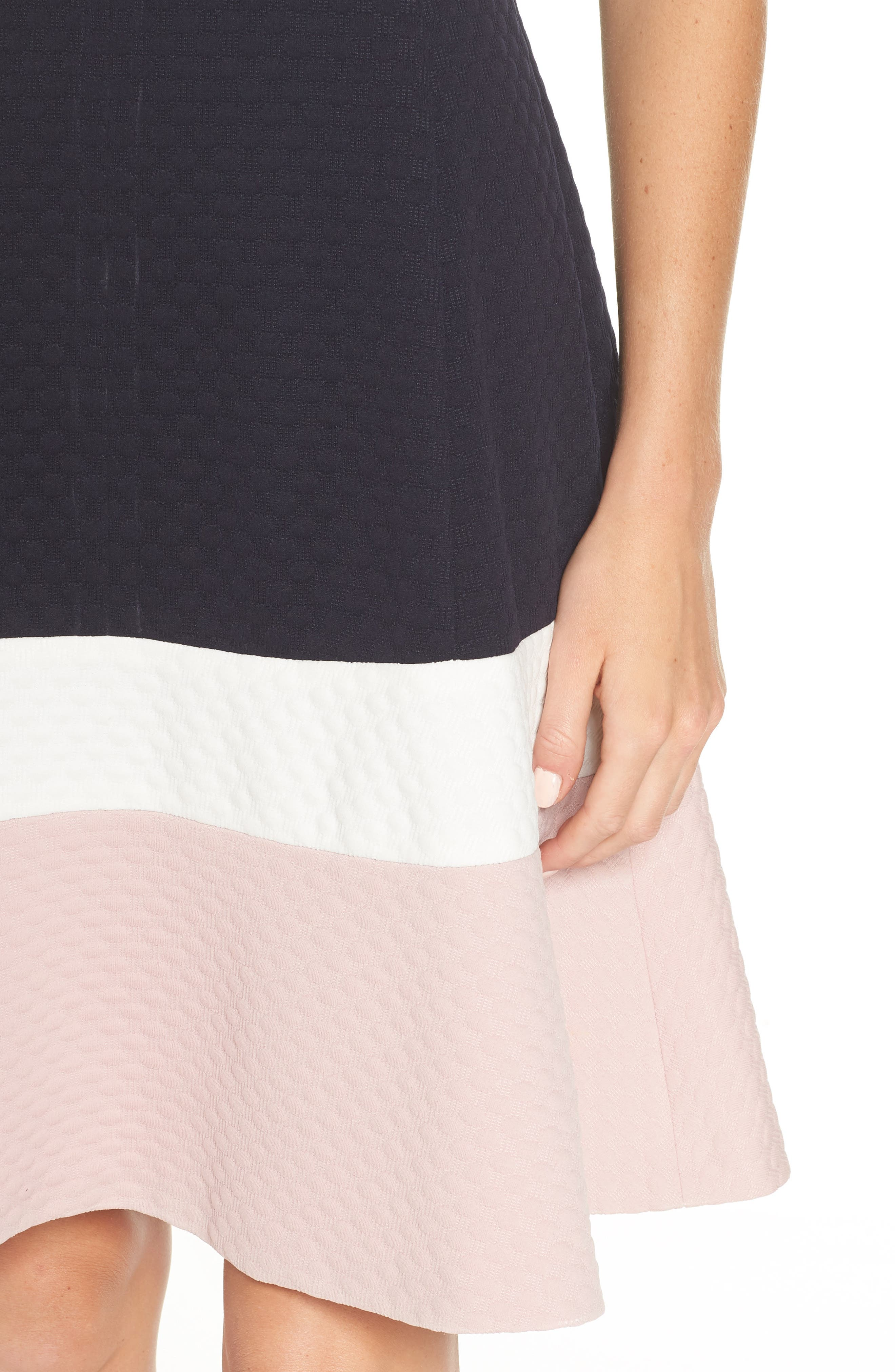 Colorblock Texture Knit Fit & Flare Dress,                             Alternate thumbnail 4, color,                             NAVY/ IVORY/ BLUSH