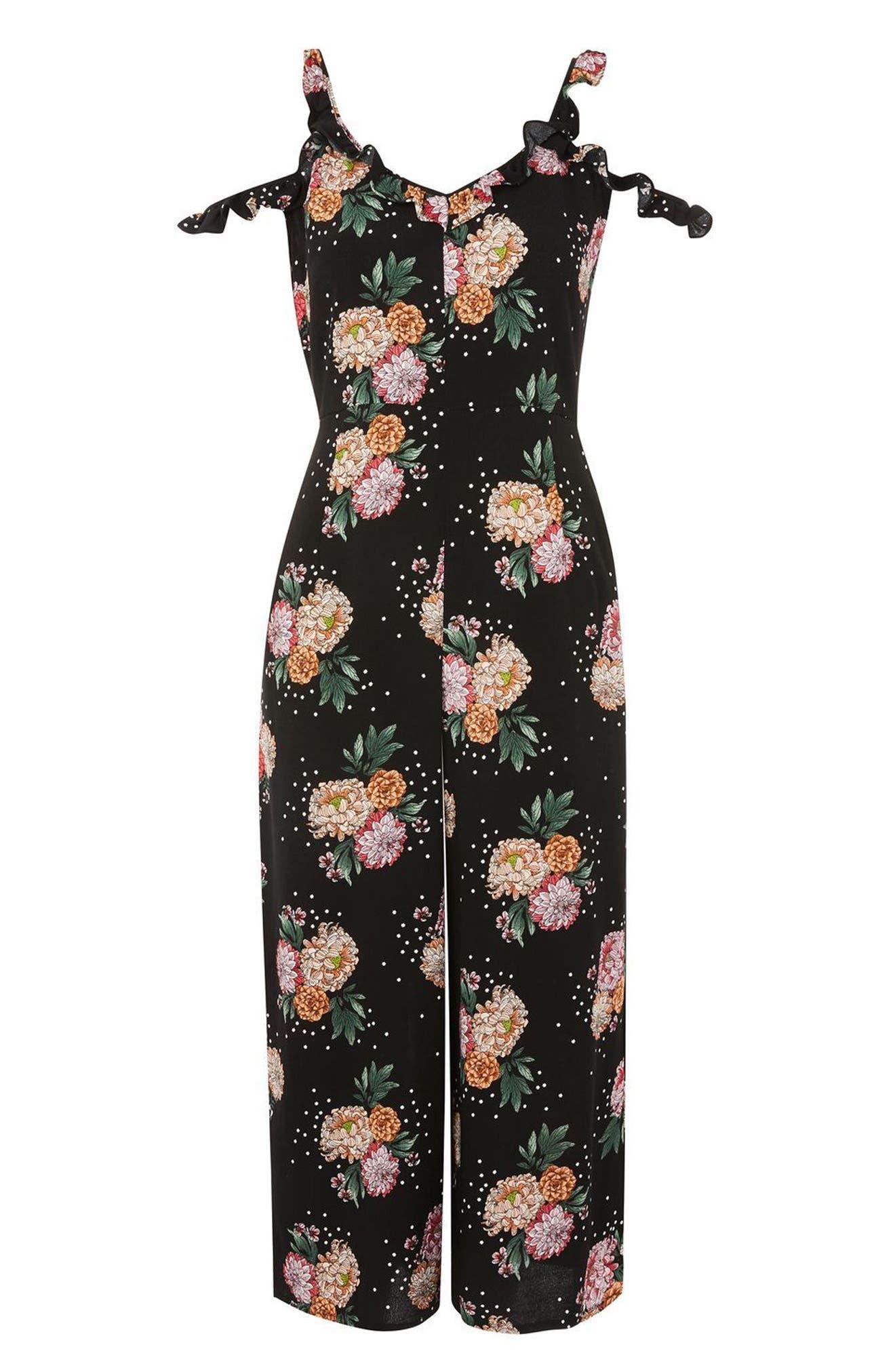 Floral Ruffle Jumpsuit,                             Alternate thumbnail 3, color,
