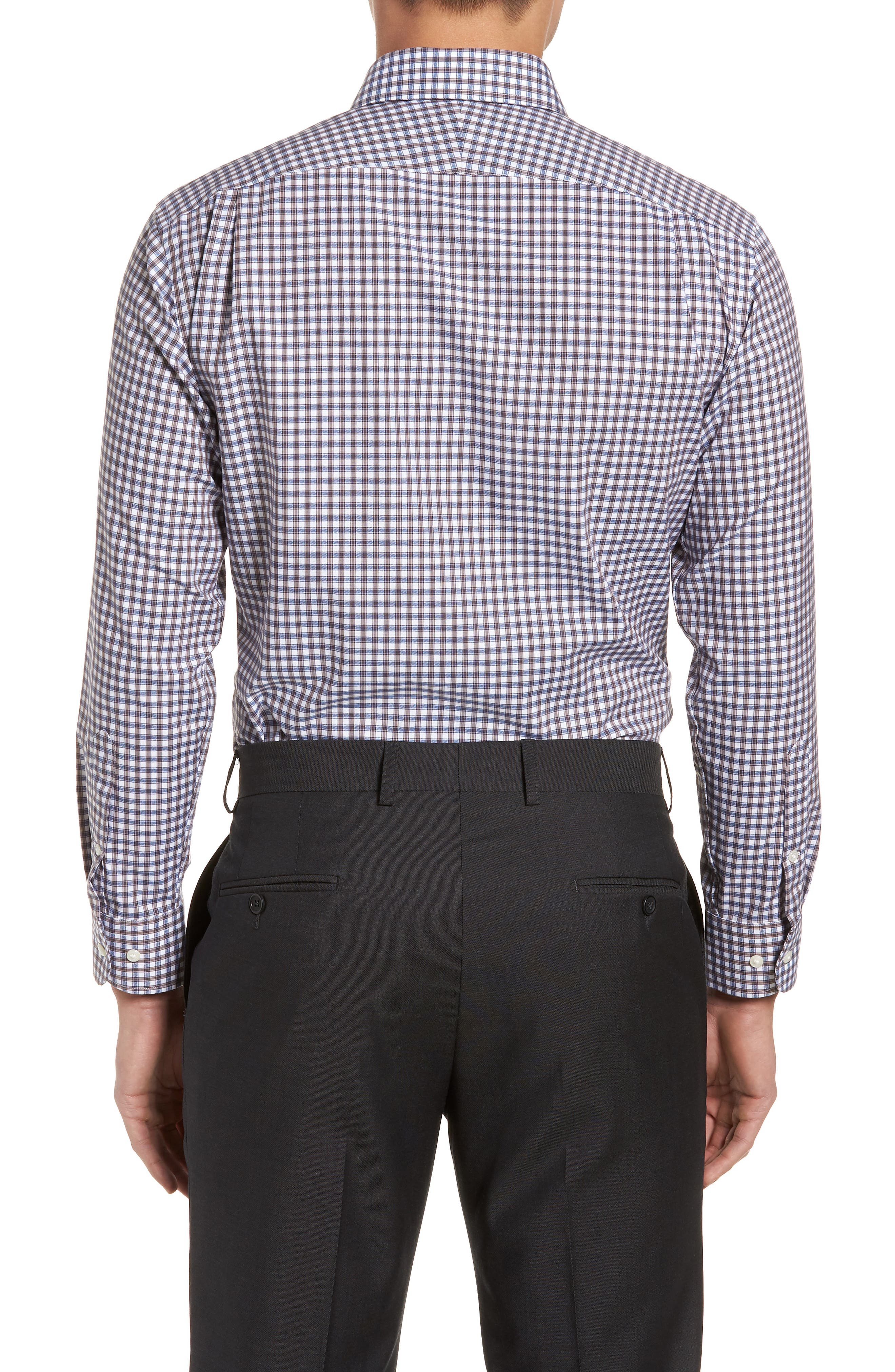 Trim Fit Non-Iron Check Dress Shirt,                             Alternate thumbnail 7, color,