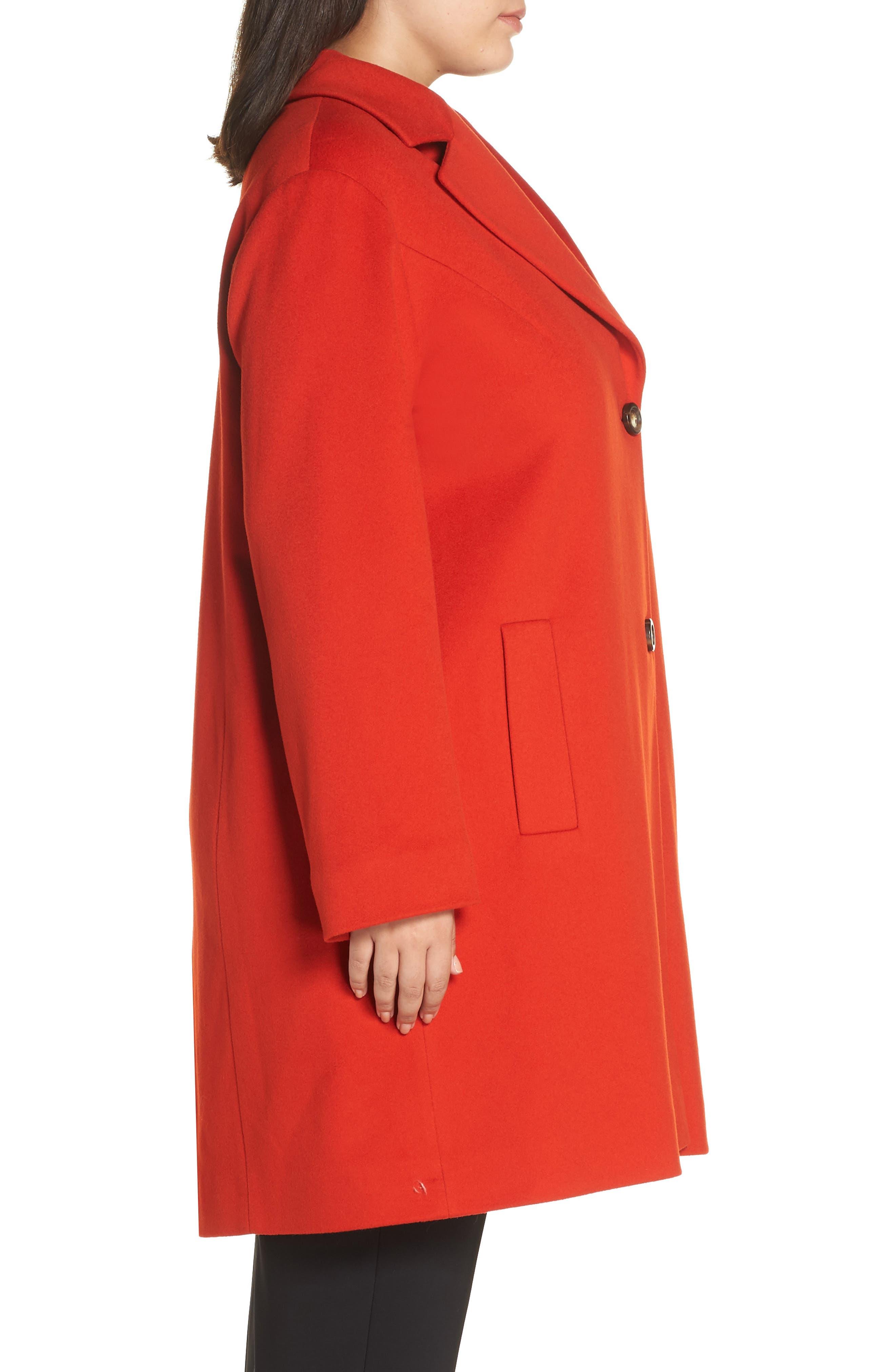 FLEURETTE,                             Loro Piana Wool Long Coat,                             Alternate thumbnail 4, color,                             SAFFRON