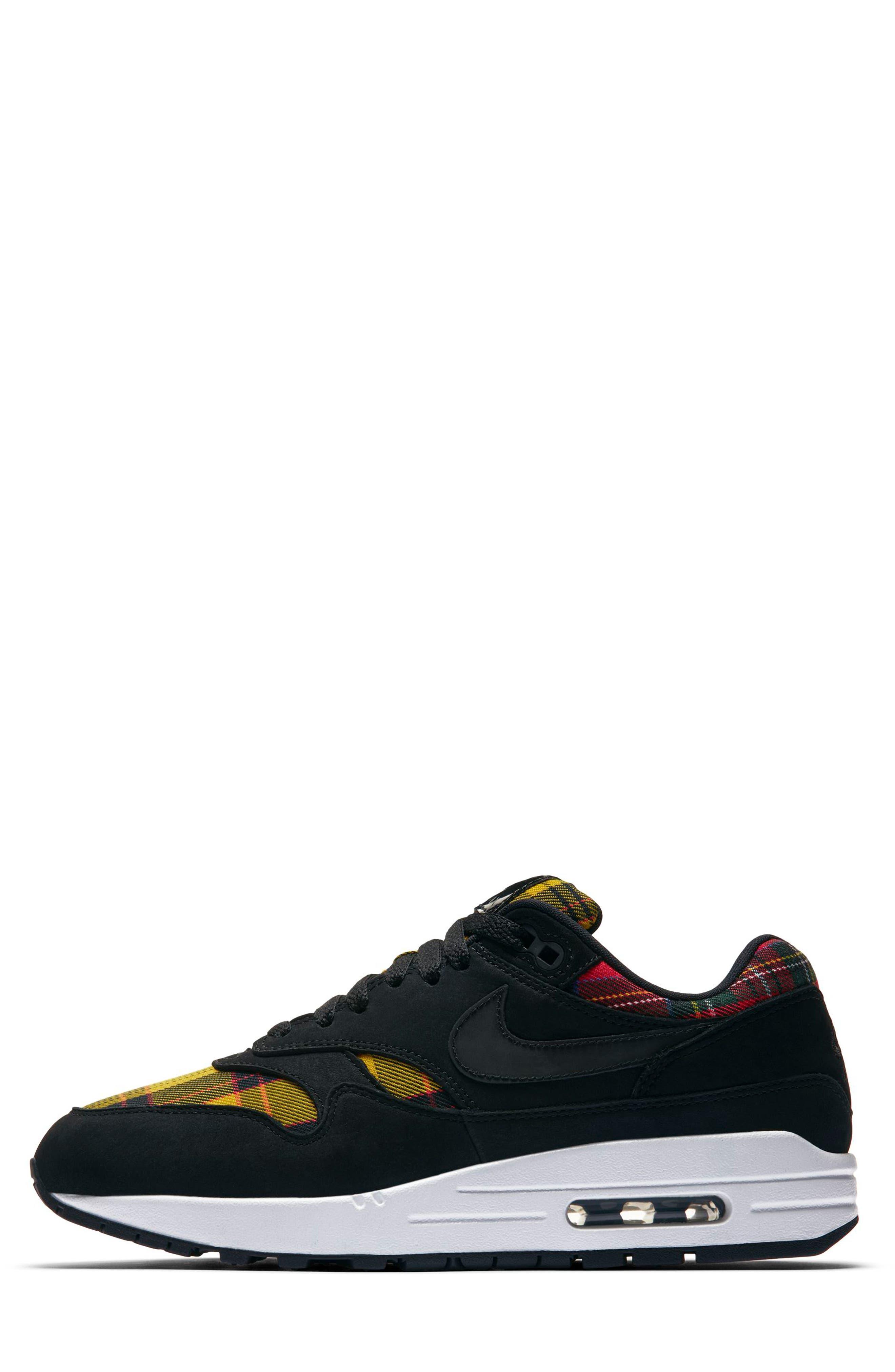 Air Max 1 SE Sneaker,                             Alternate thumbnail 3, color,                             BLACK/ BLACK/ UNIVERSITY RED