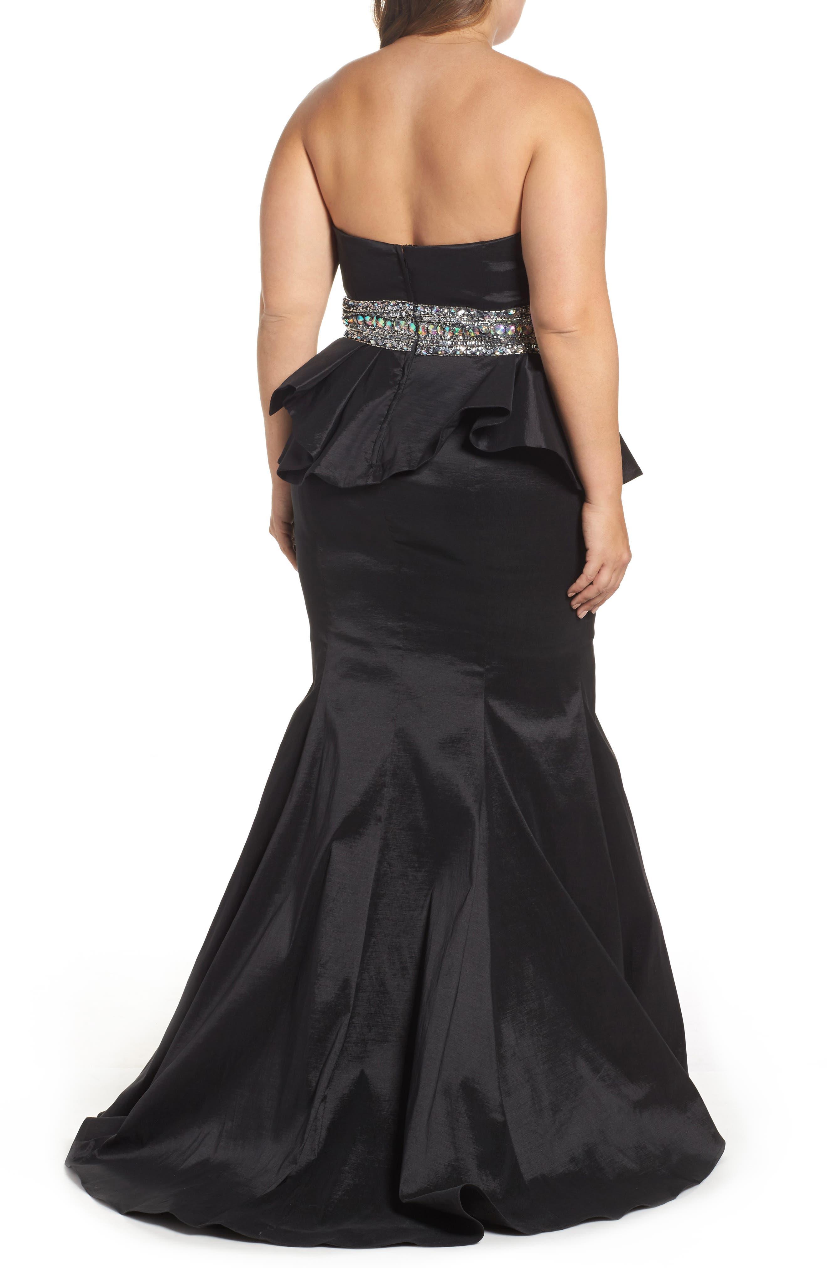Beaded Bustier Peplum Gown,                             Alternate thumbnail 2, color,                             001