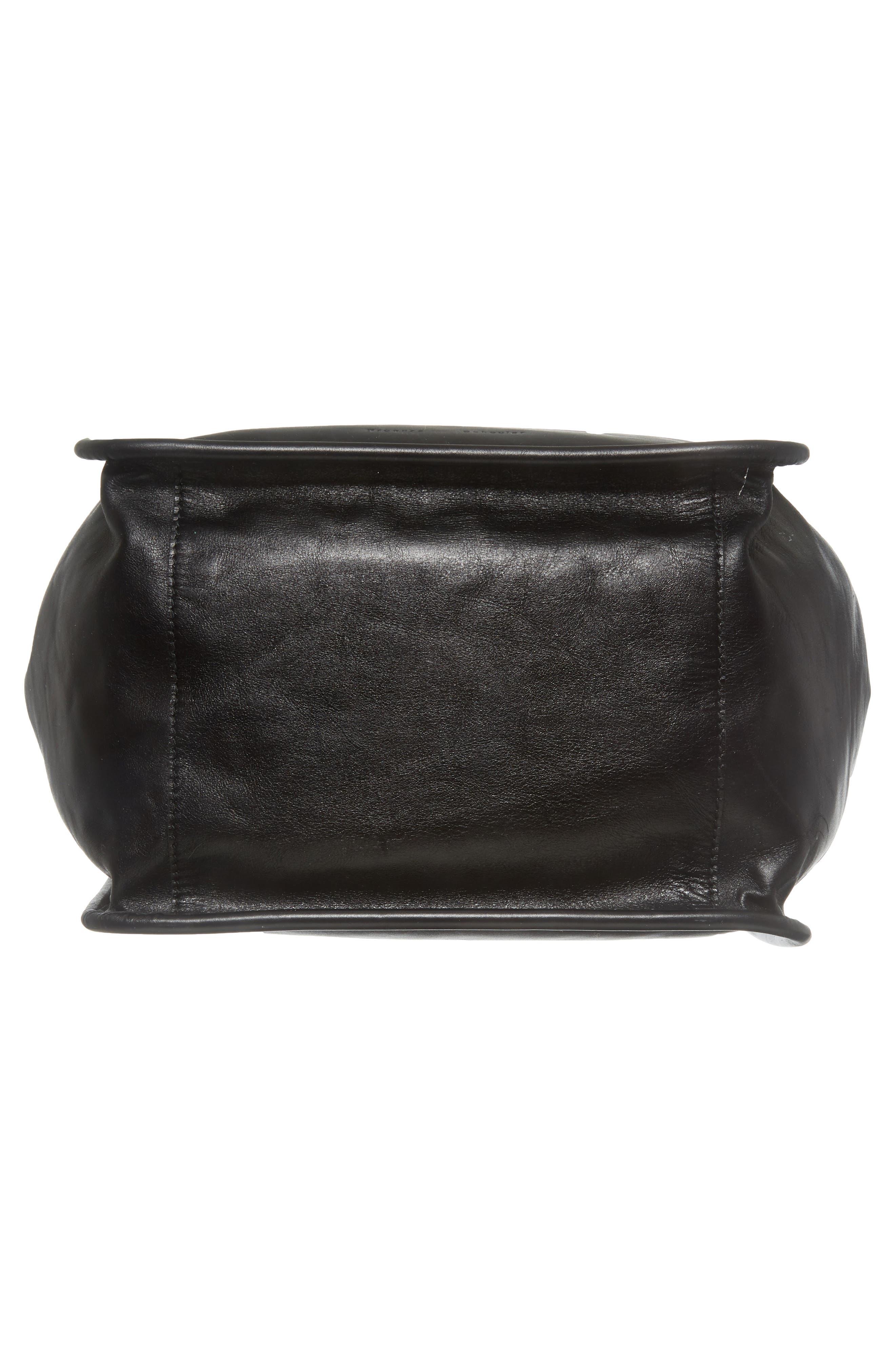 Large Calfskin Leather Tote,                             Alternate thumbnail 6, color,                             BLACK