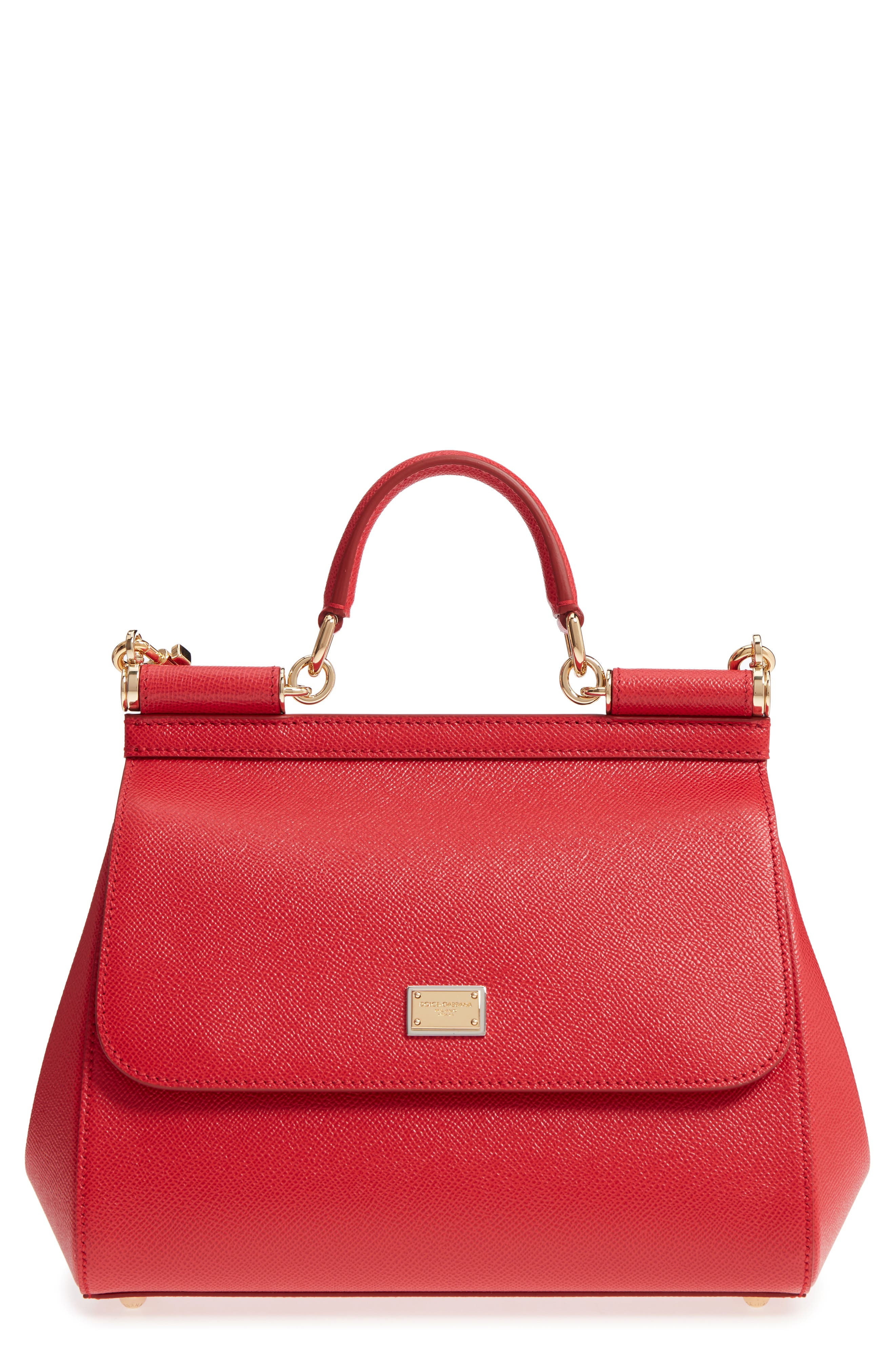 'Small Miss Sicily' Leather Satchel,                         Main,                         color, RED