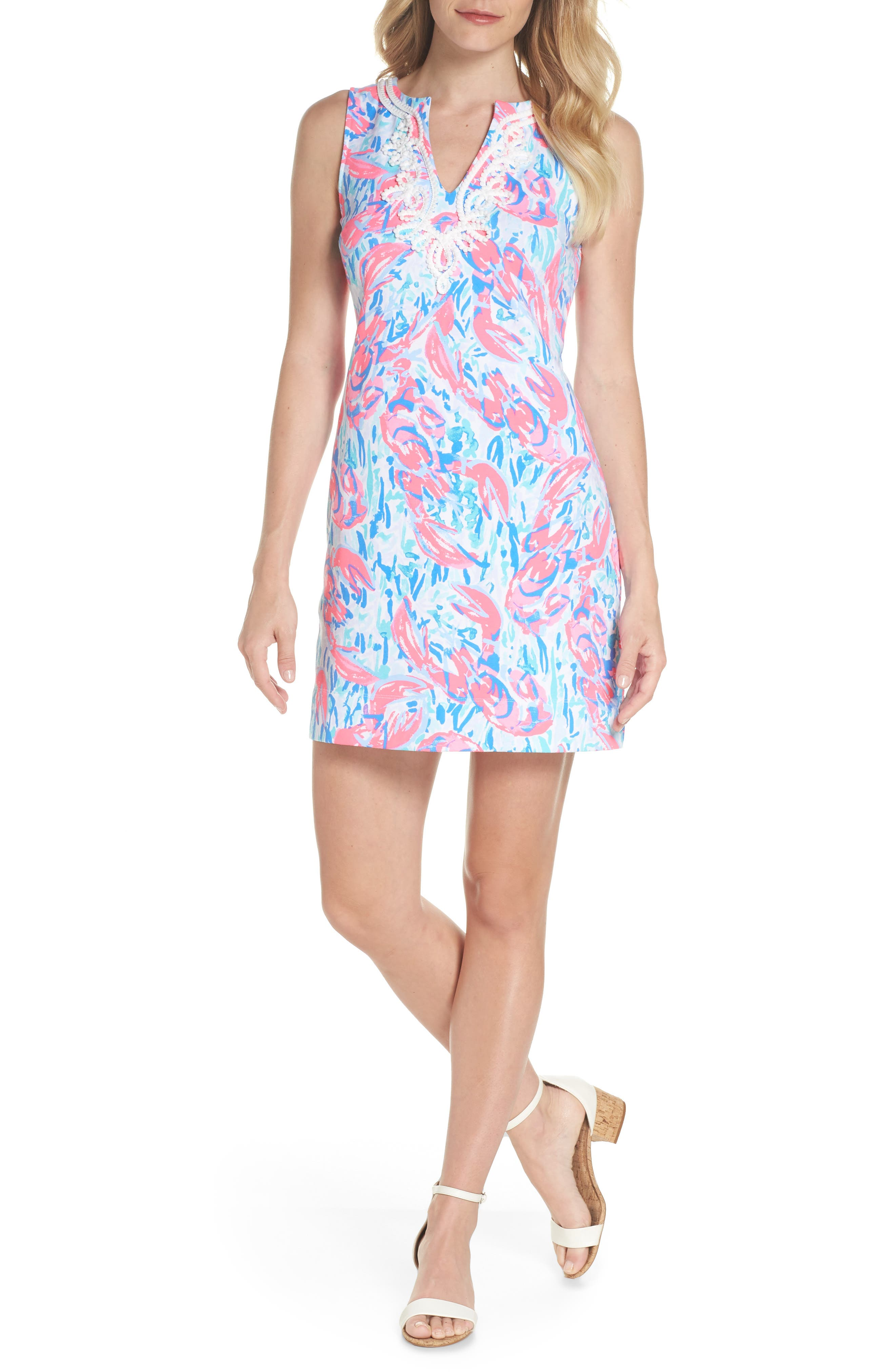 Harper Shift Dress,                             Alternate thumbnail 5, color,                             COSMIC CORAL CRACKED UP