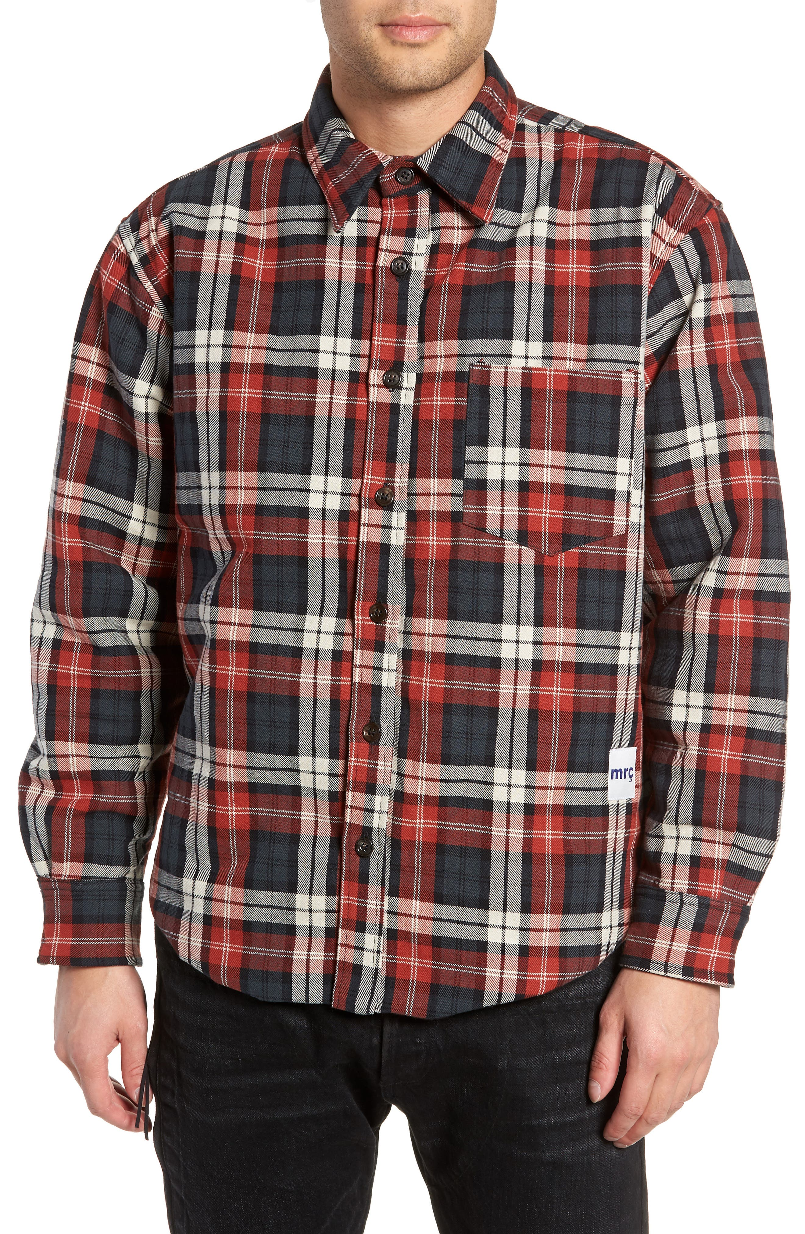 Puffy Classic Fit Work Shirt,                             Alternate thumbnail 4, color,                             RED PLAID