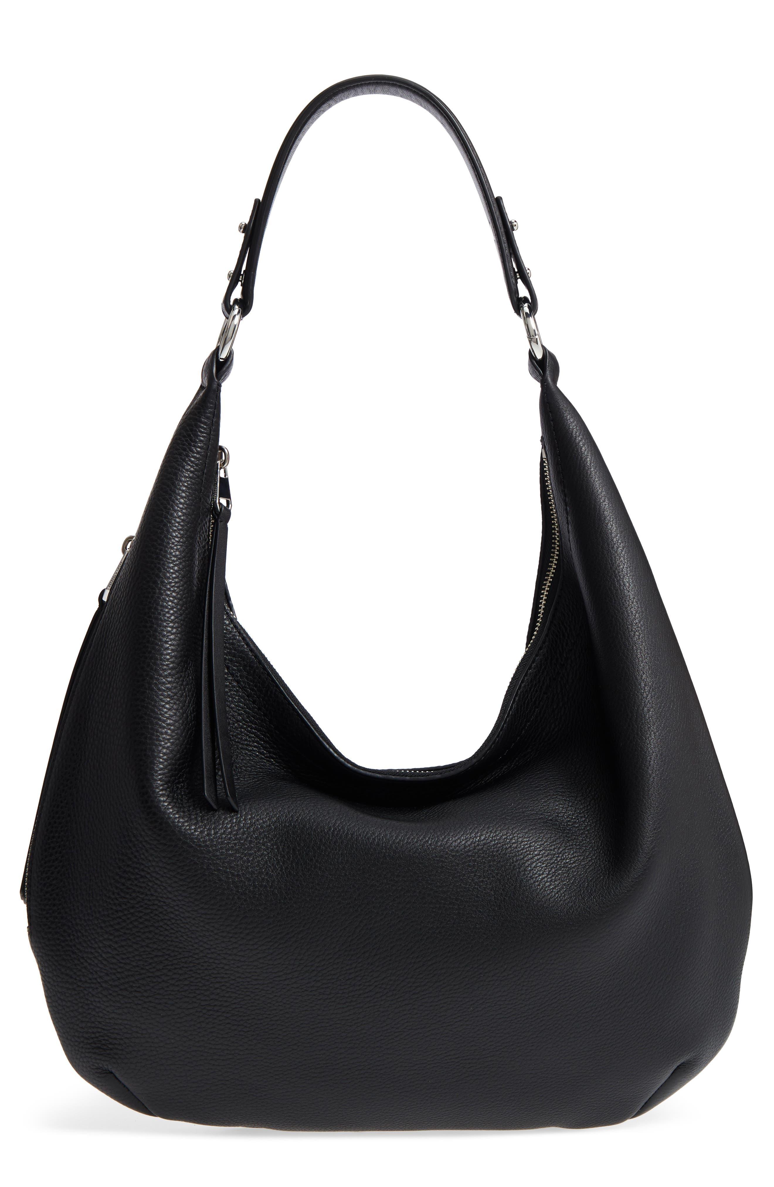 Michelle Leather Hobo,                         Main,                         color, BLACK