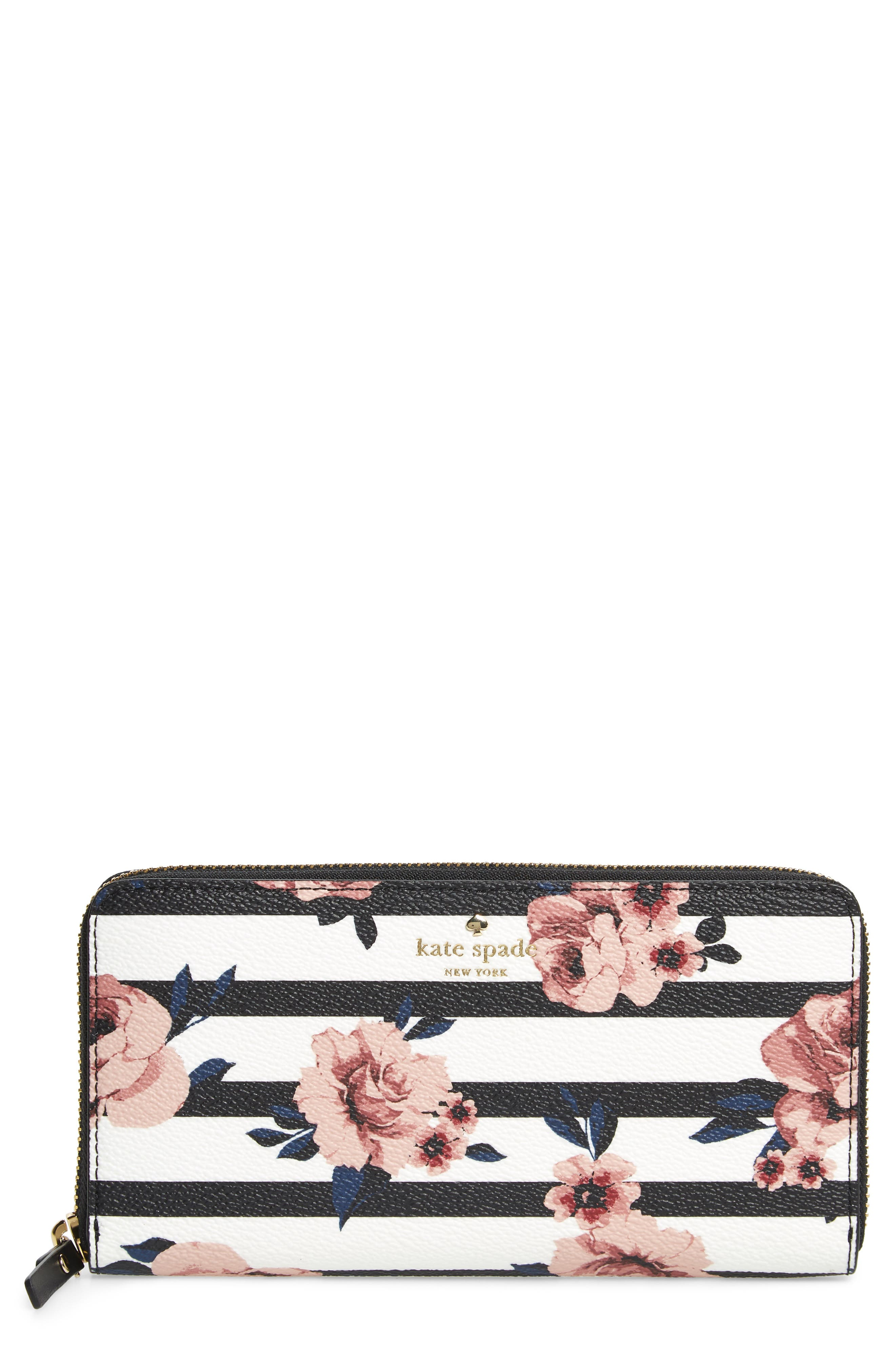 KATE SPADE NEW YORK hyde lane - rose stripe lacey zip around wallet, Main, color, 001
