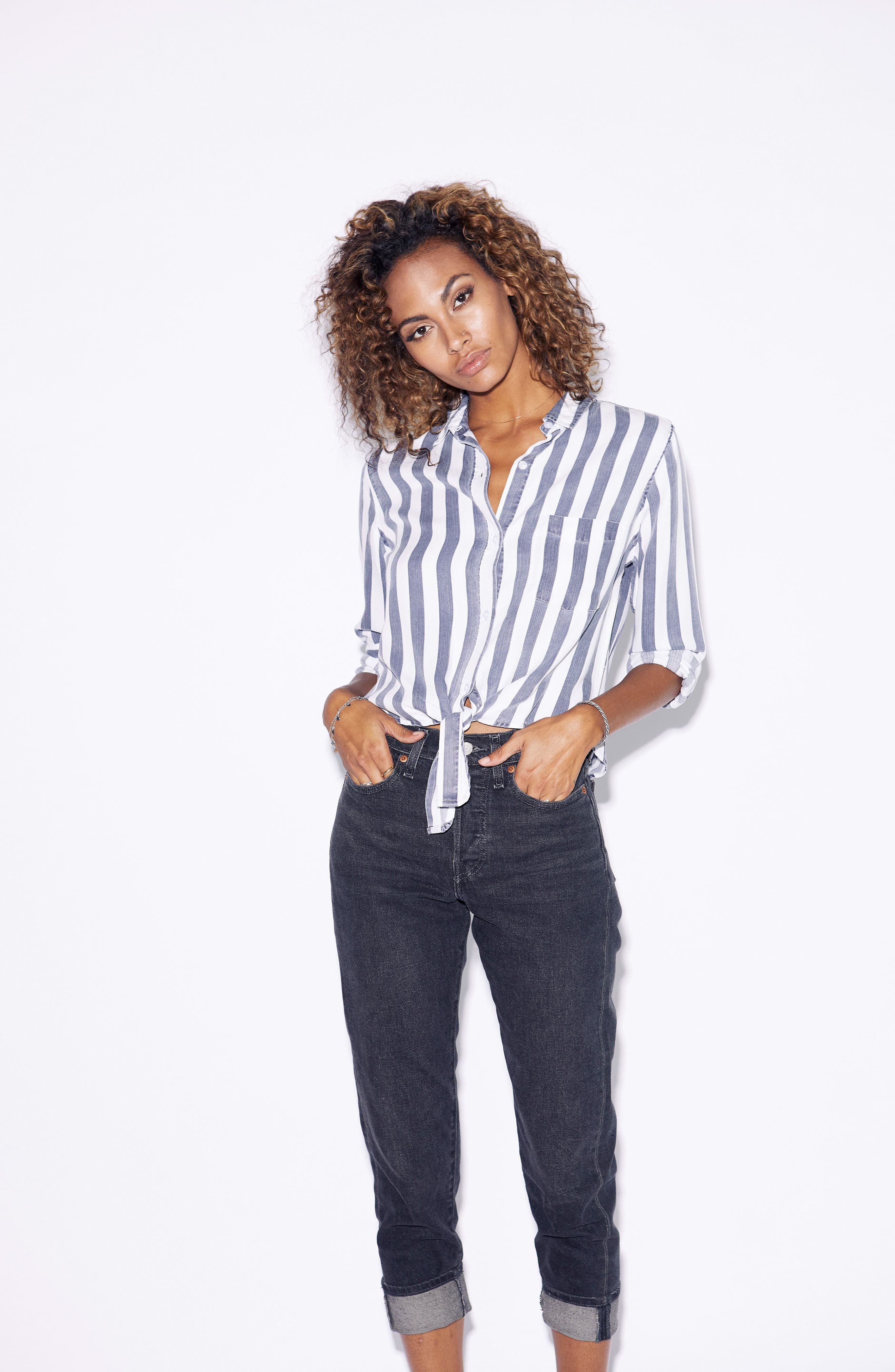 Val Stripe Tie Front Top,                             Alternate thumbnail 9, color,                             400