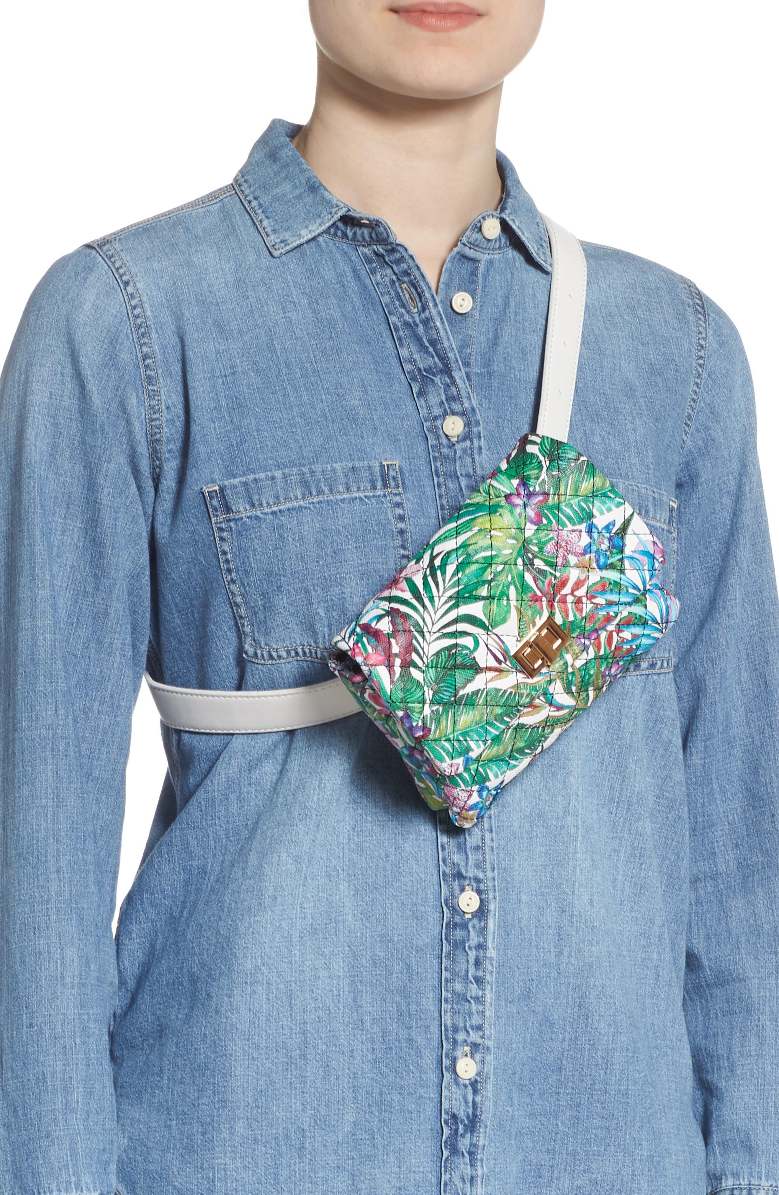 MALI + LILI,                             Quilted Vegan Leather Belt Bag,                             Alternate thumbnail 3, color,                             WHITE FLORAL