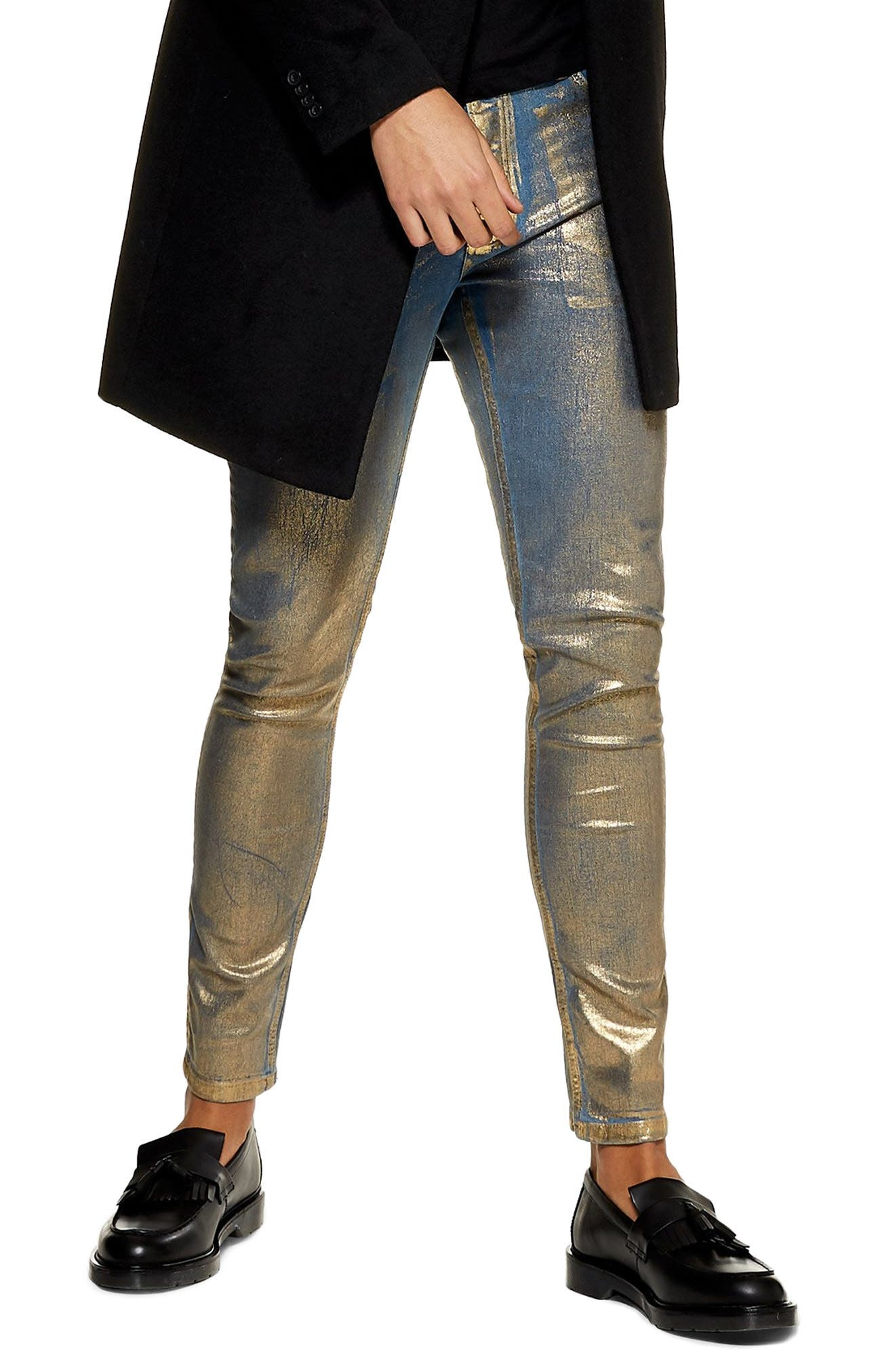 Lustre Stretch Skinny Jeans,                             Main thumbnail 1, color,                             GOLD