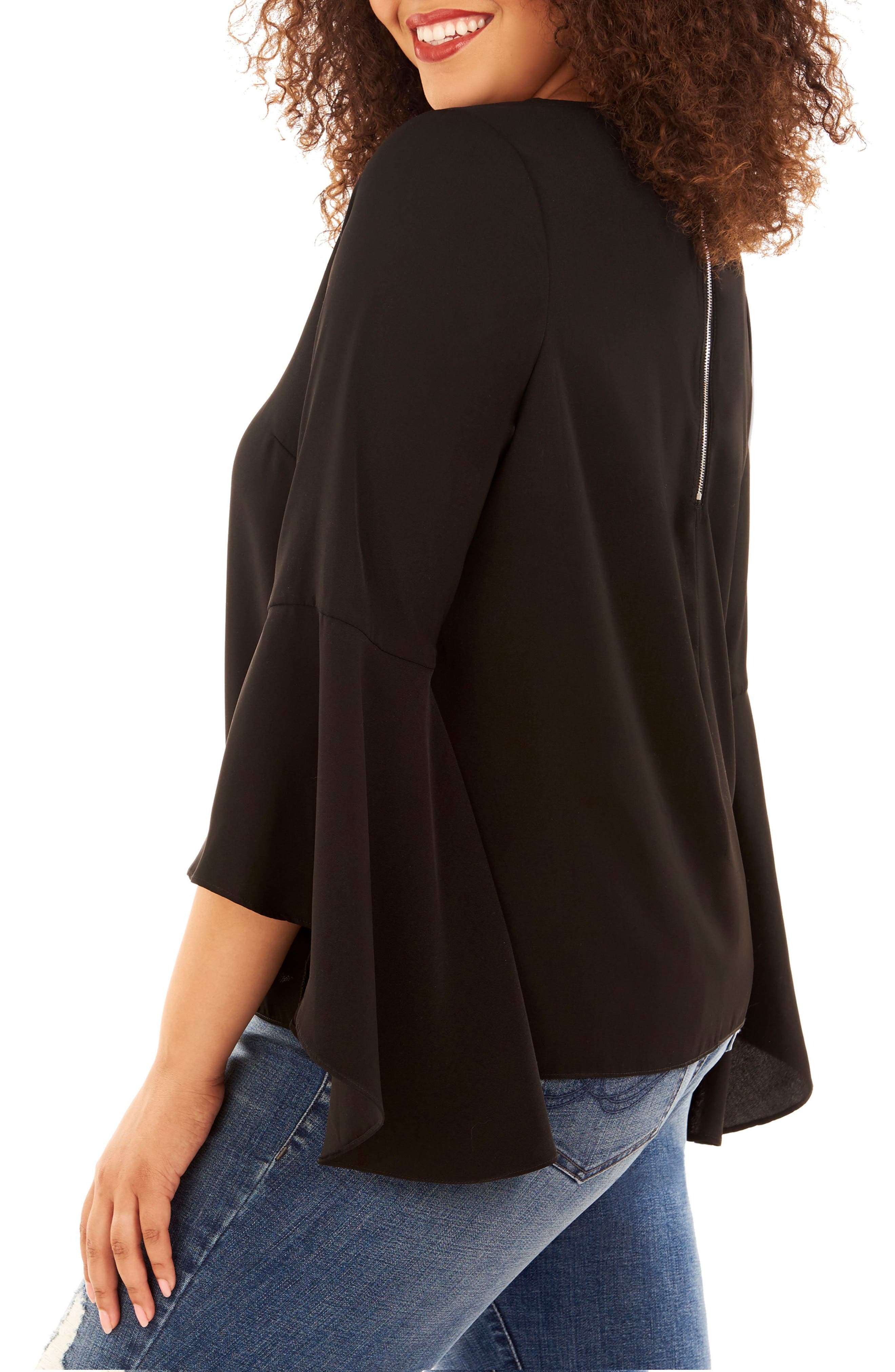 Bell Sleeve Top,                             Alternate thumbnail 3, color,                             002
