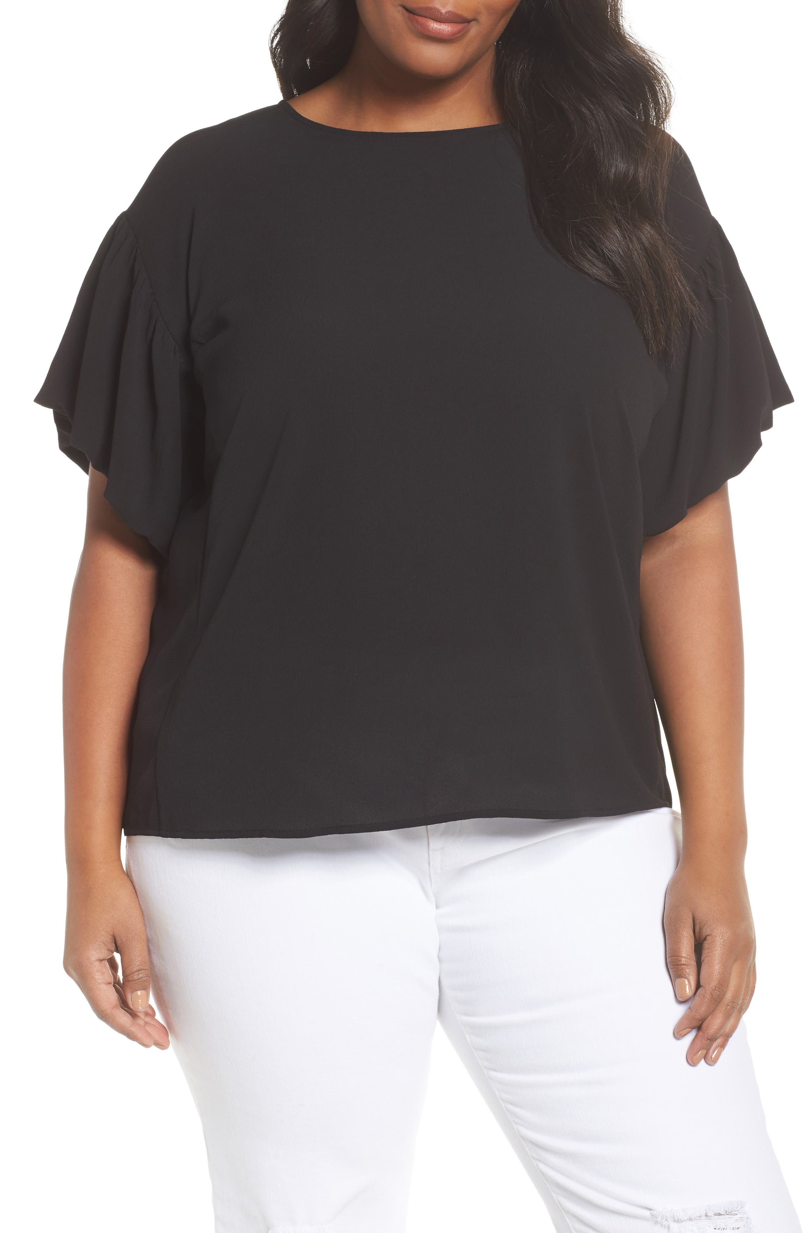 Bubble Sleeve Blouse,                             Main thumbnail 1, color,                             RICH BLACK
