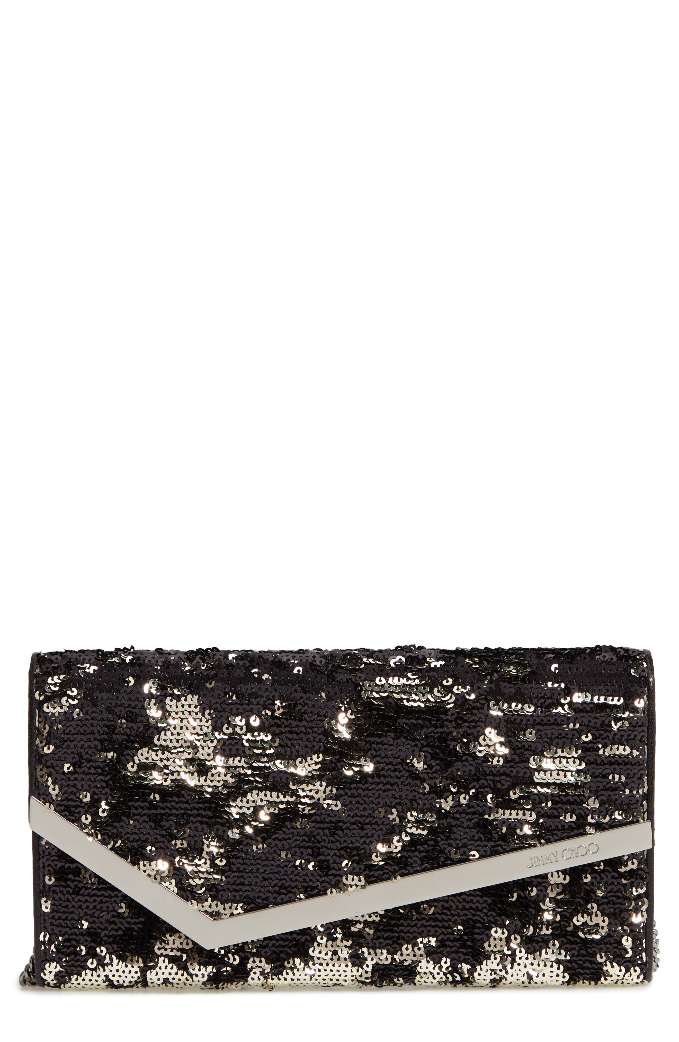 JIMMY CHOO Emmie Sequin Clutch, Main, color, BLACK/ SILVER