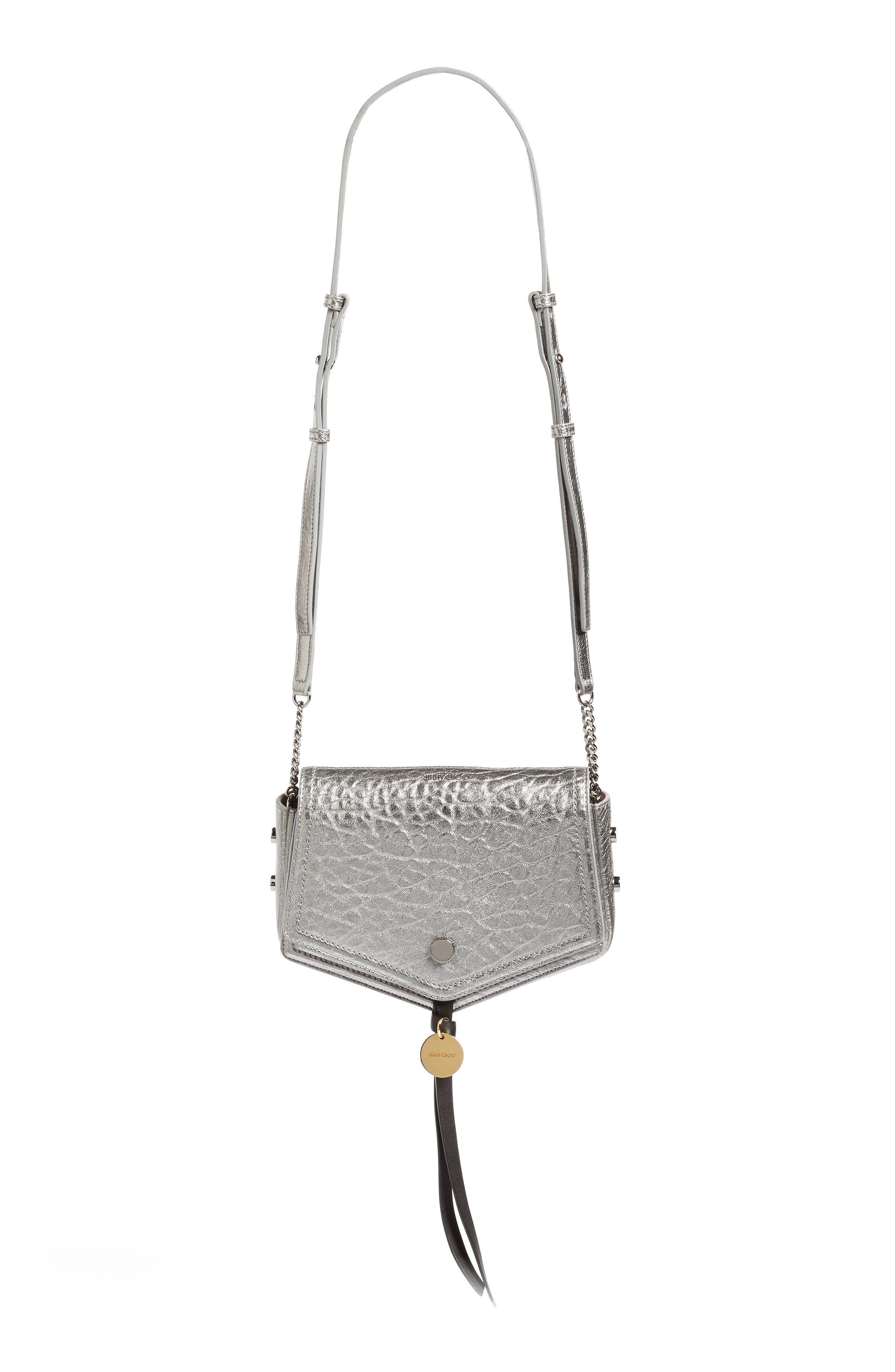 Arrow Metallic Grained Leather Shoulder Bag,                         Main,                         color, 045