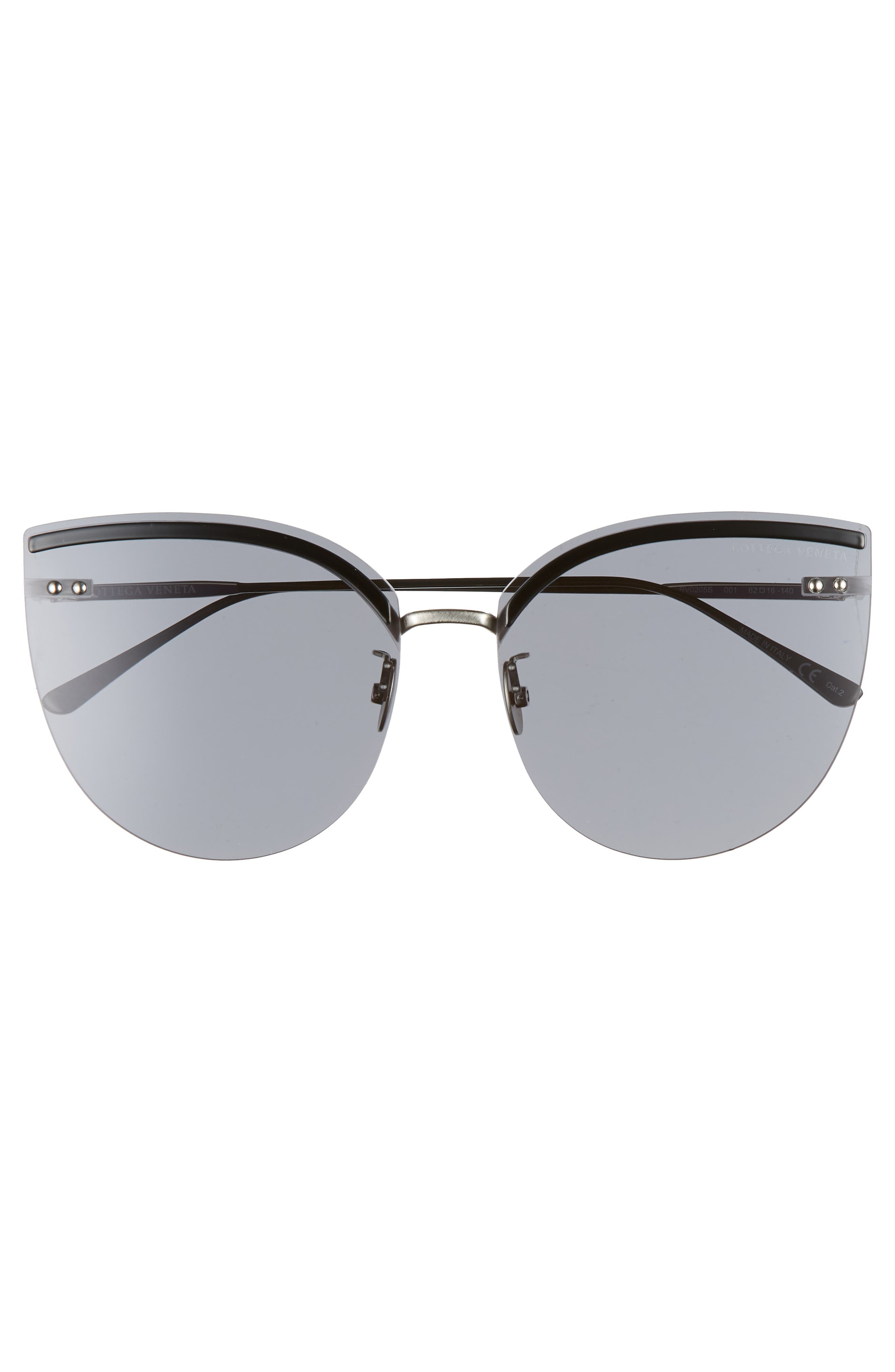 62mm Oversize Rimless Cat Eye Sunglasses,                             Alternate thumbnail 3, color,                             SILVER/ BLACK