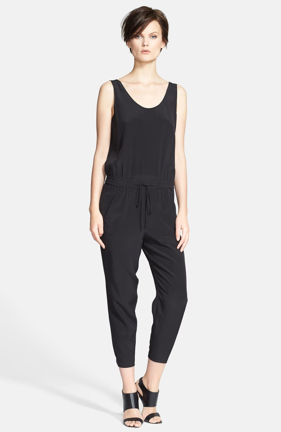 Sleeveless Silk Jumpsuit,                         Main,                         color, 011