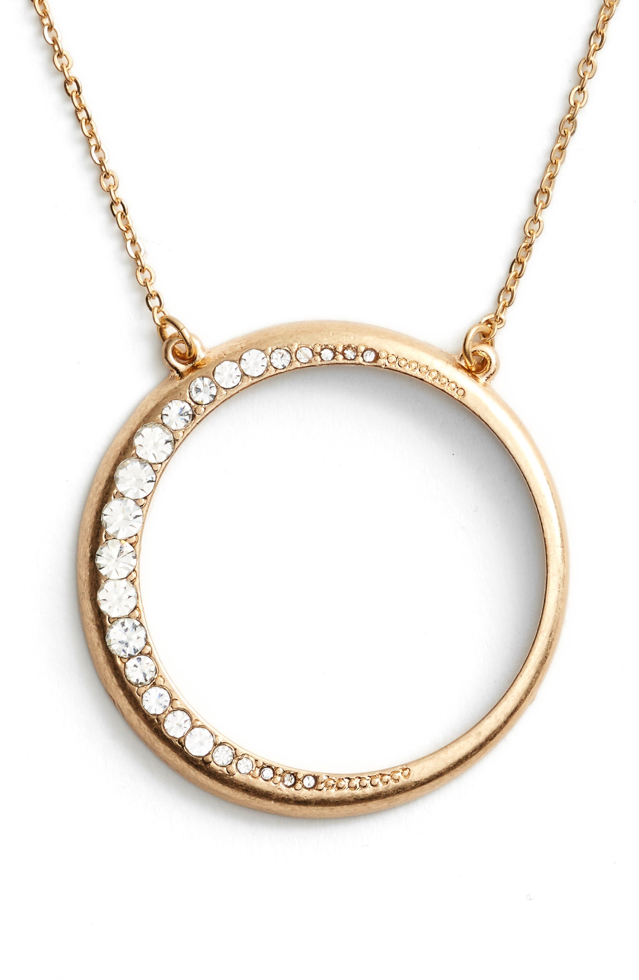 Open Circle Pendant Necklace,                             Main thumbnail 2, color,