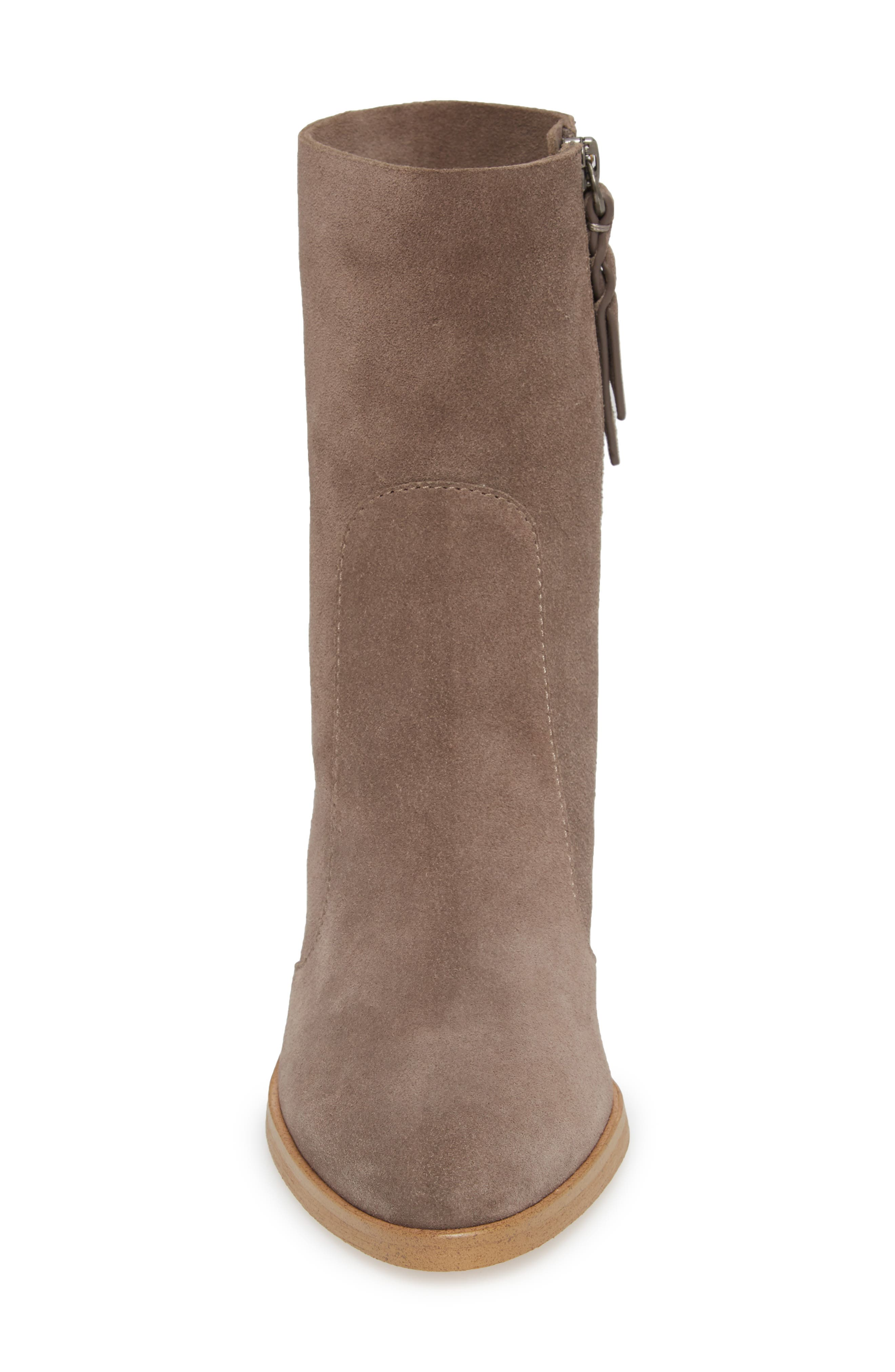 Roselyn II Almond Toe Bootie,                             Alternate thumbnail 4, color,                             LIGHT CHARCOAL SUEDE
