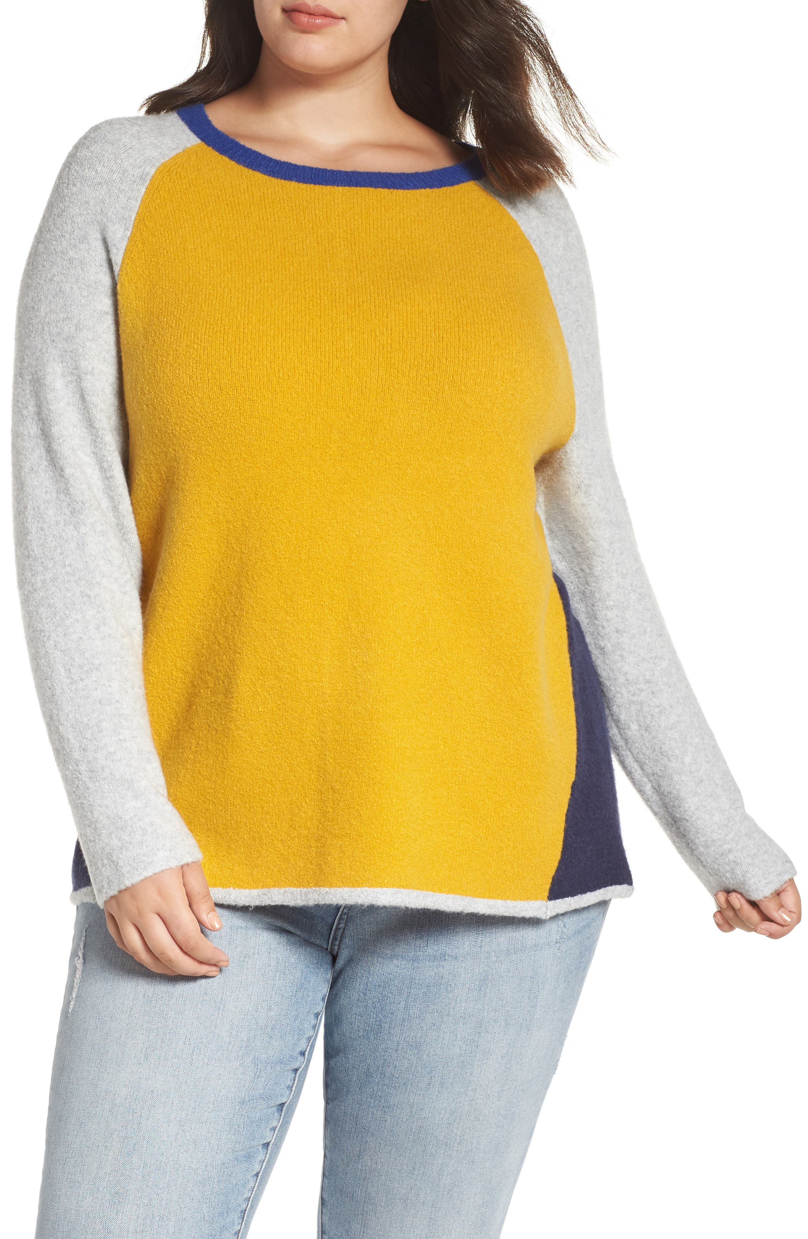 Plus Size Caslon Colorblock Sweater, Yellow