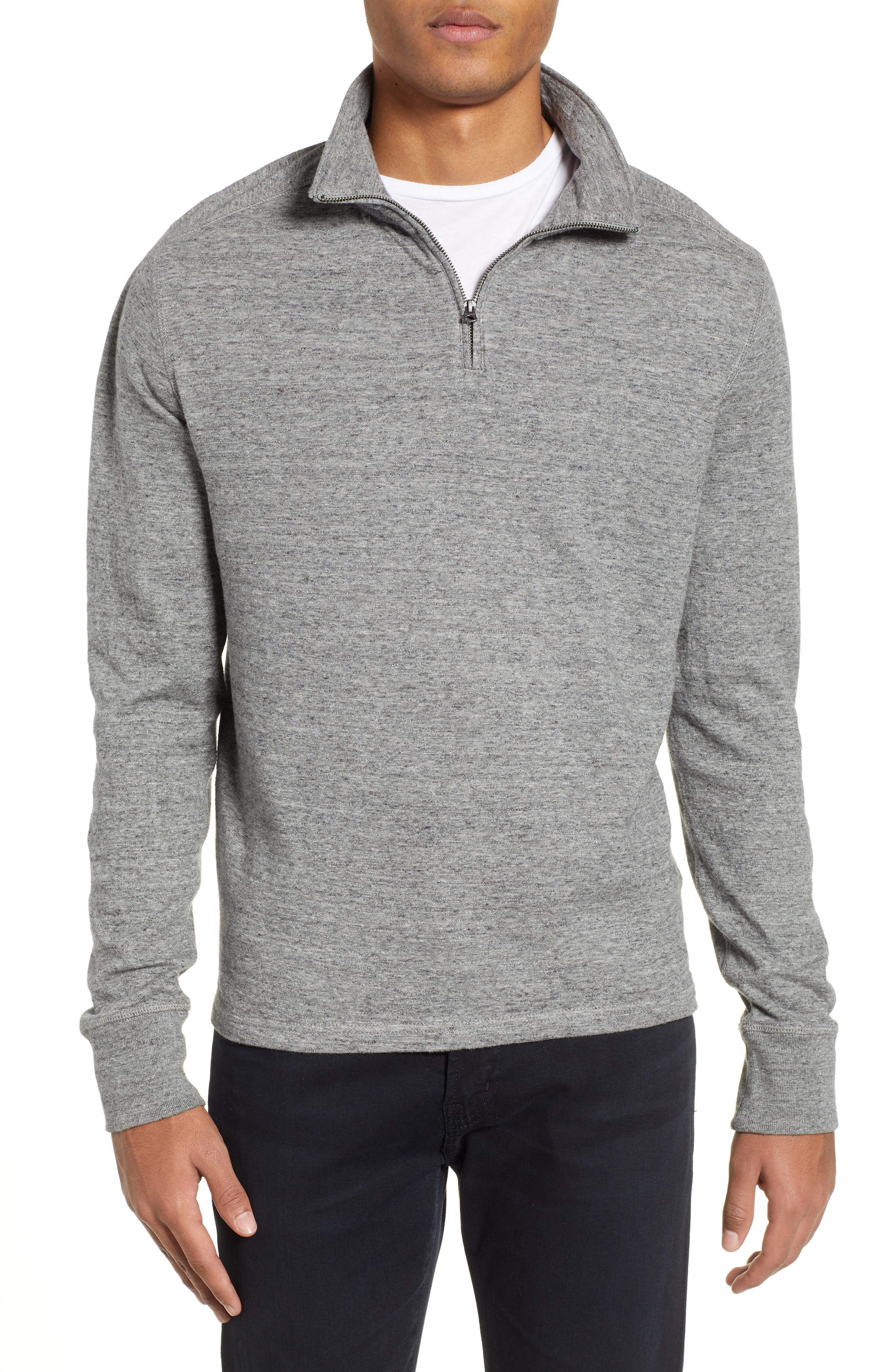 Double Knit Half Zip Pullover,                             Main thumbnail 1, color,                             MARLED STEEL