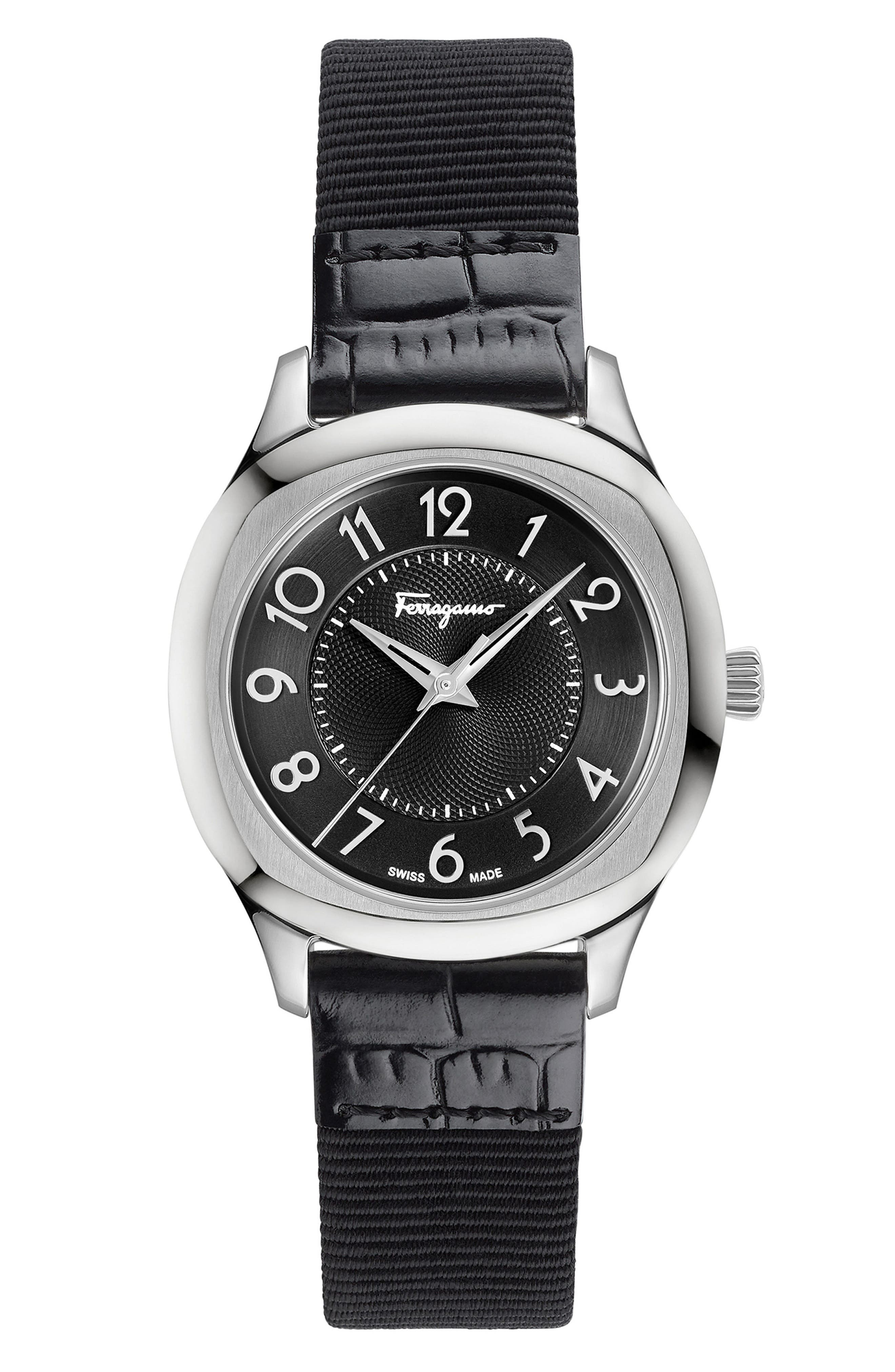 Dual Leather Strap Watch, 36mm,                             Alternate thumbnail 6, color,                             BLACK/ SILVER