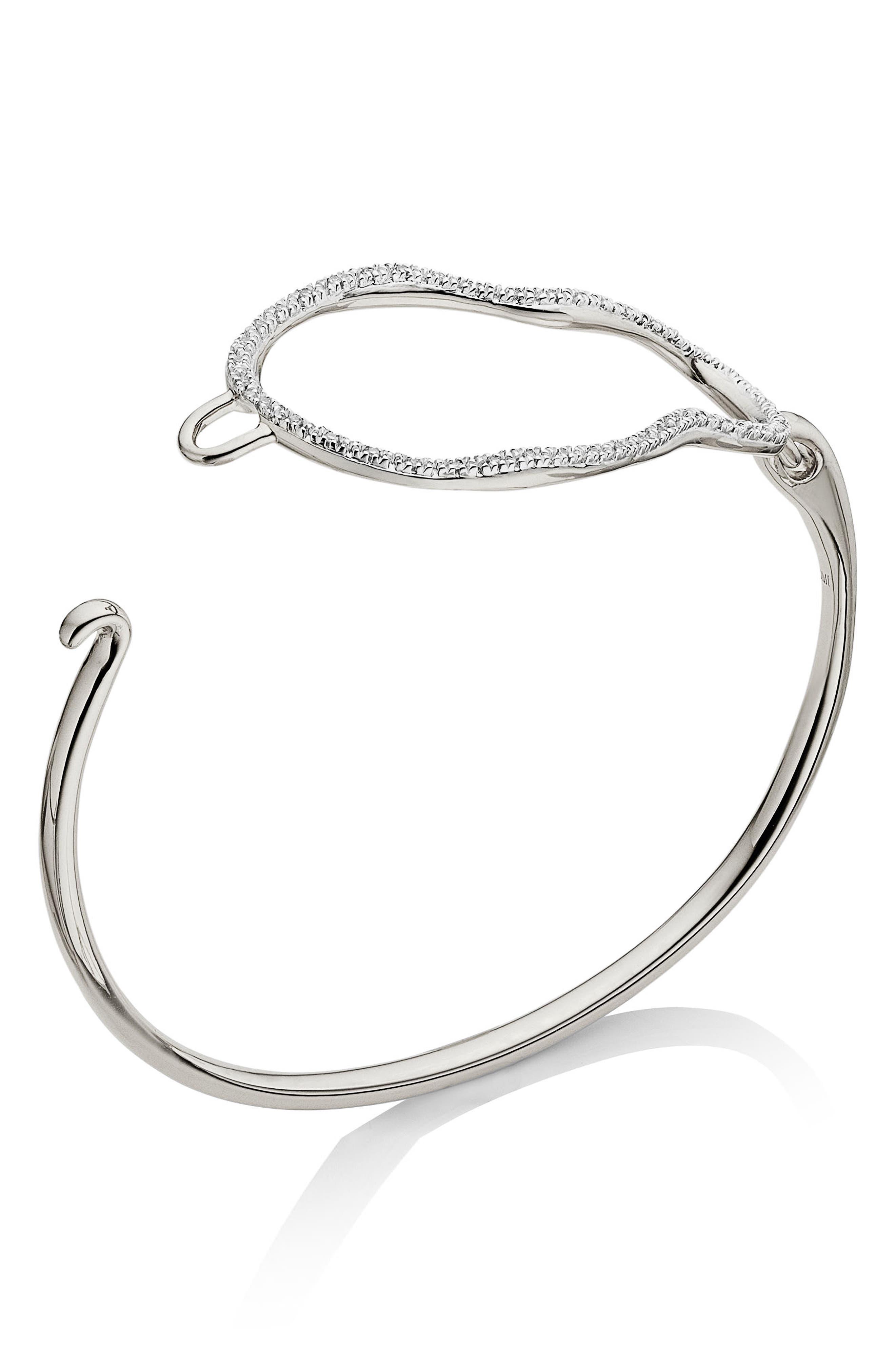 Riva Diamond Hook Bracelet,                             Main thumbnail 1, color,                             SILVER/ DIAMOND