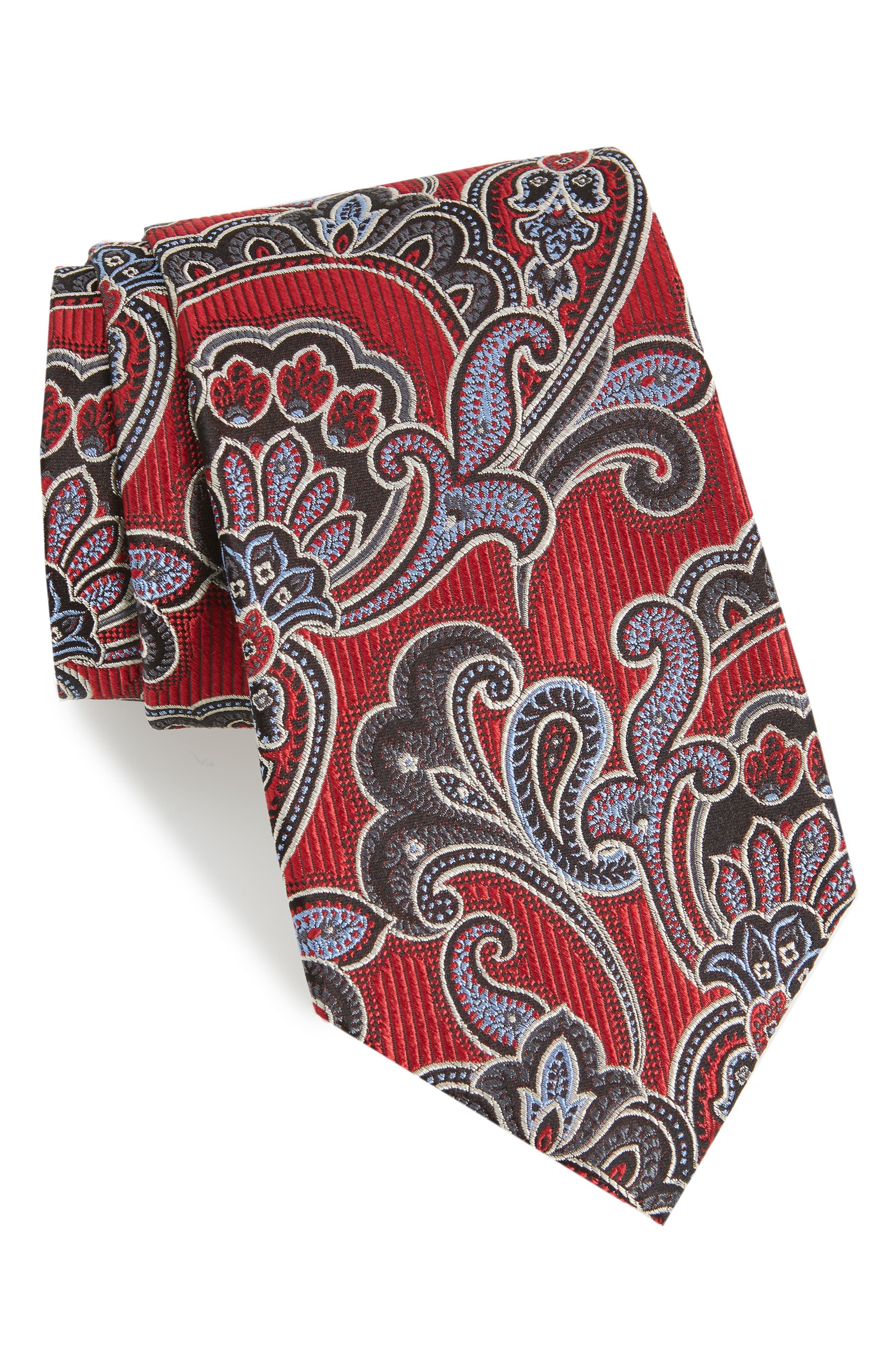 Paisley Silk Tie,                             Main thumbnail 1, color,                             600