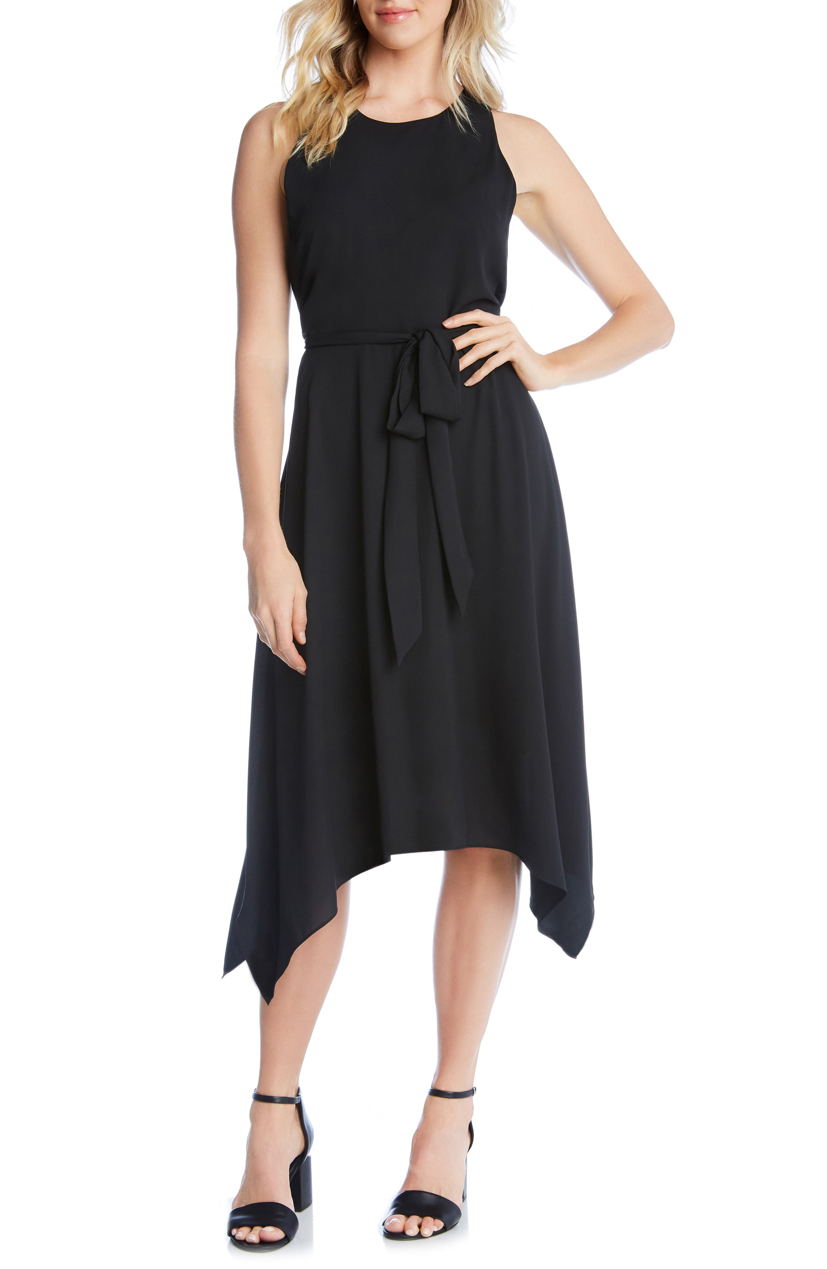 Karen Kane Sleeveless Handkerchief Hem Dress, Black